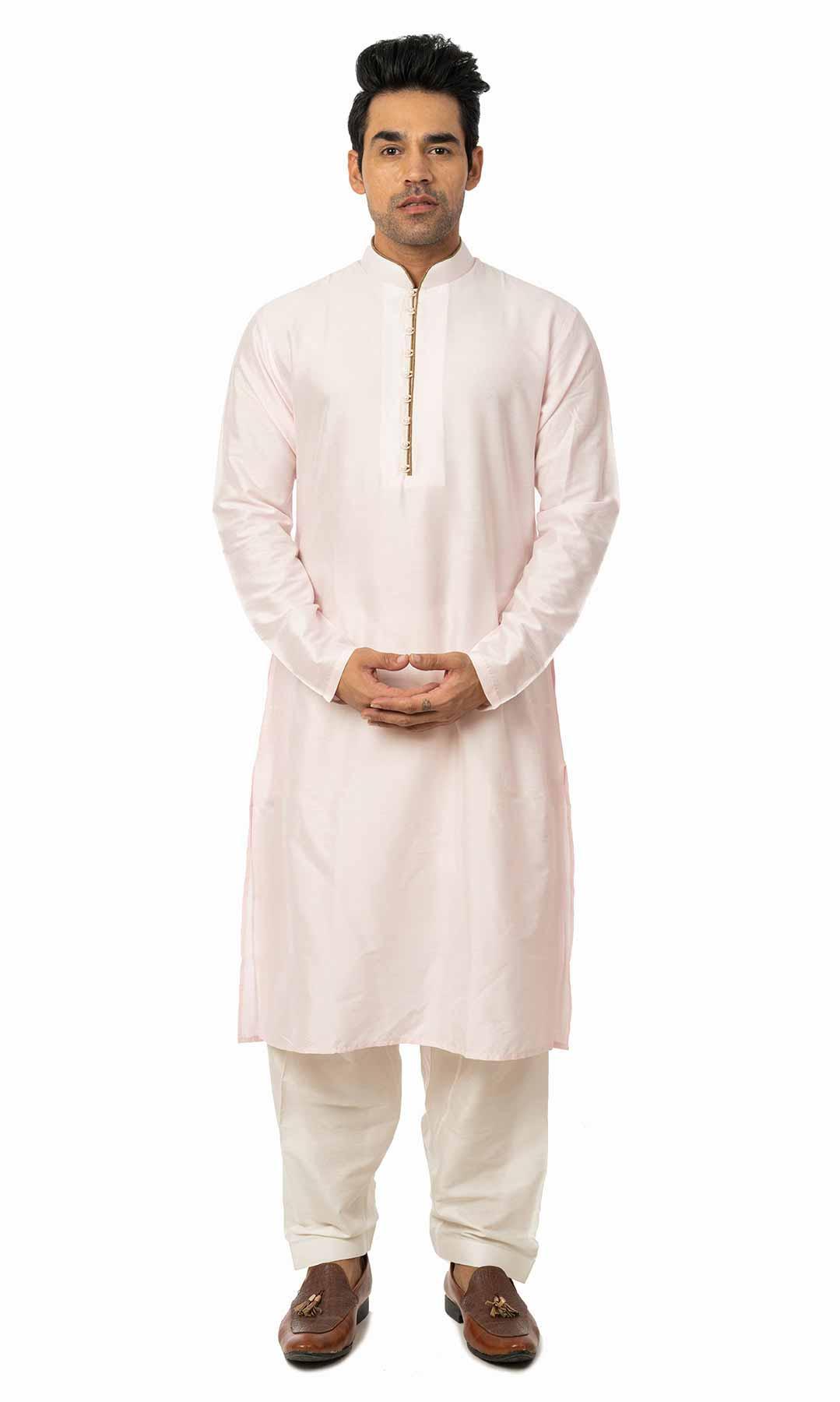 Powder Pink Cotton Silk Kurta Set - Viraaya By Ushnakmals