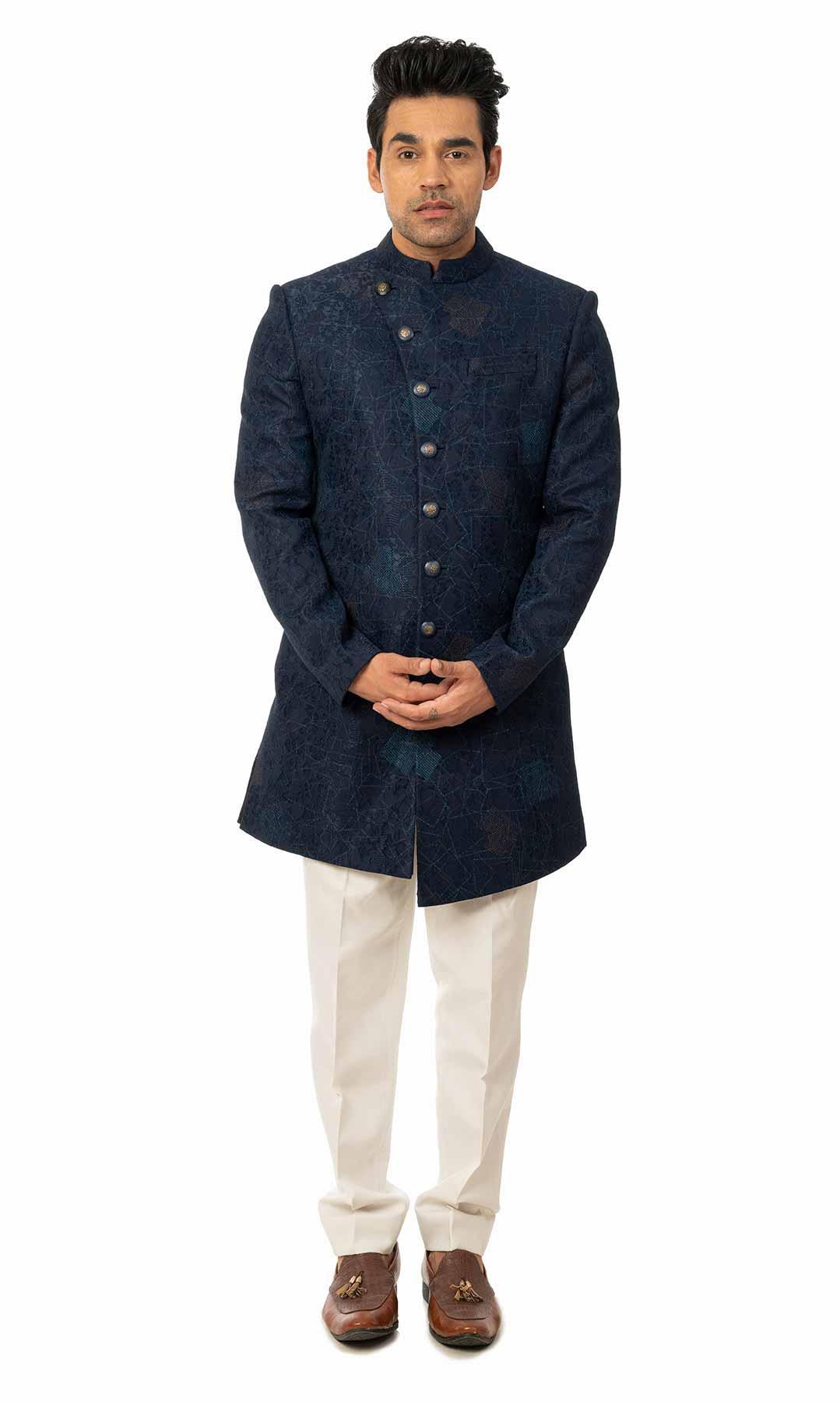 Navy Blue Indo Western On A Texture Fabric  – Viraaya By Ushnakmals