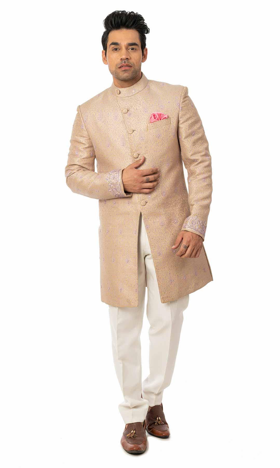 Rosegold Banarasi Brocade Indo Western Set  – Viraaya By Ushnakmals