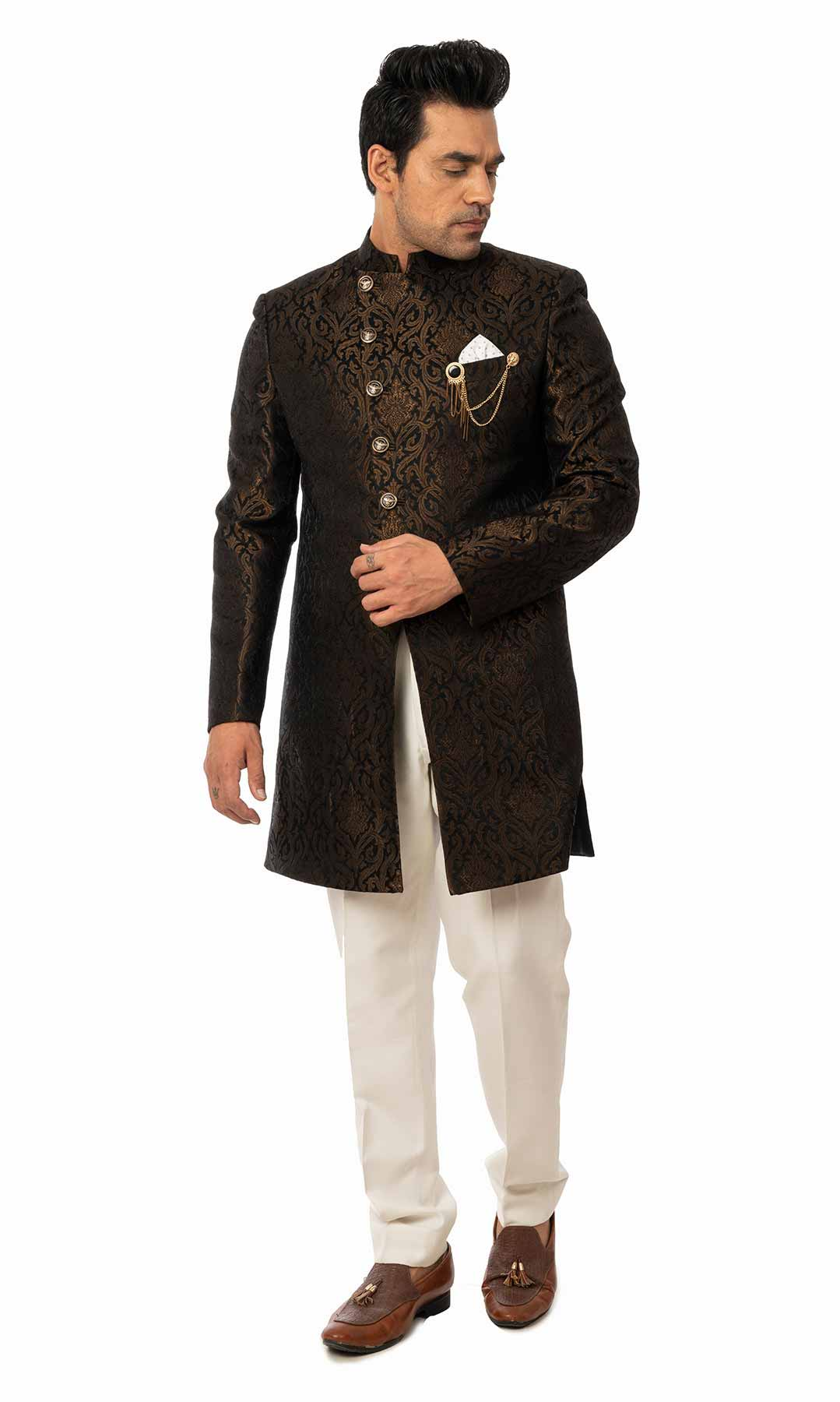 Black Banarasi Brocade Indo-Western Set  – Viraaya By Ushnakmals