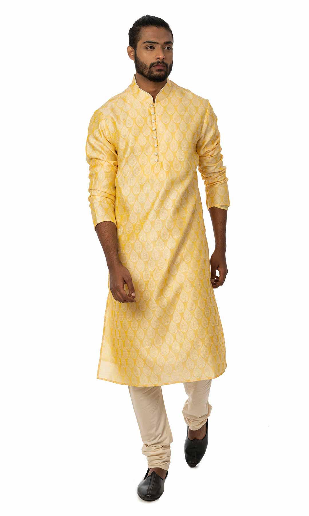 Yellow Banarasi Jacquard Kurta Set  – Viraaya By Ushnakmals