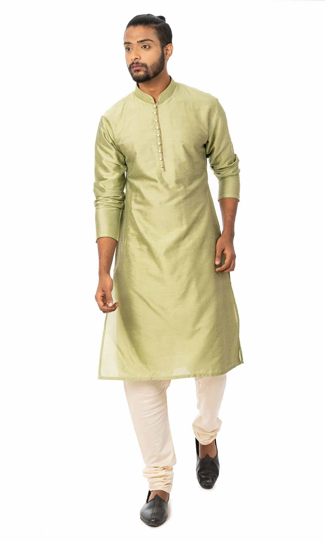 Light Green Cotton Silk Kurta Set  – Viraaya By Ushnakmals