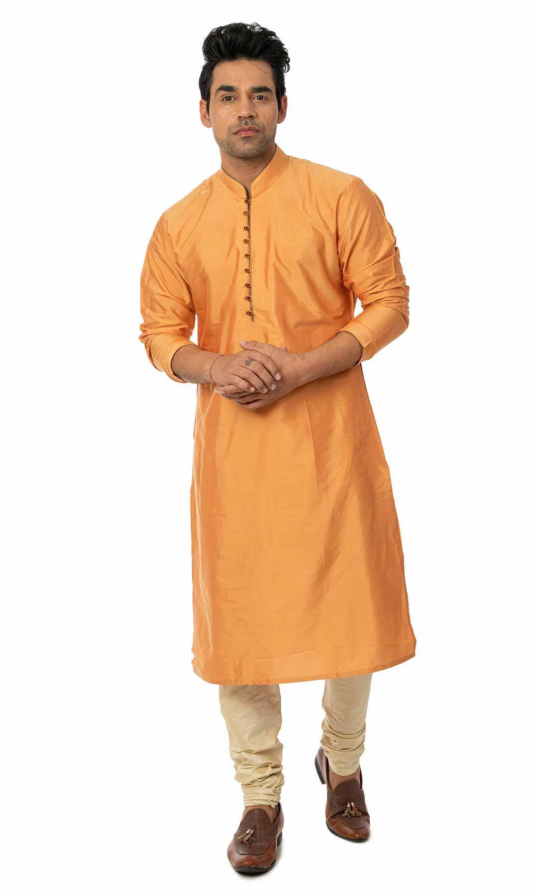 Orange Cotton Silk Kurta Set  – Viraaya By Ushnakmals