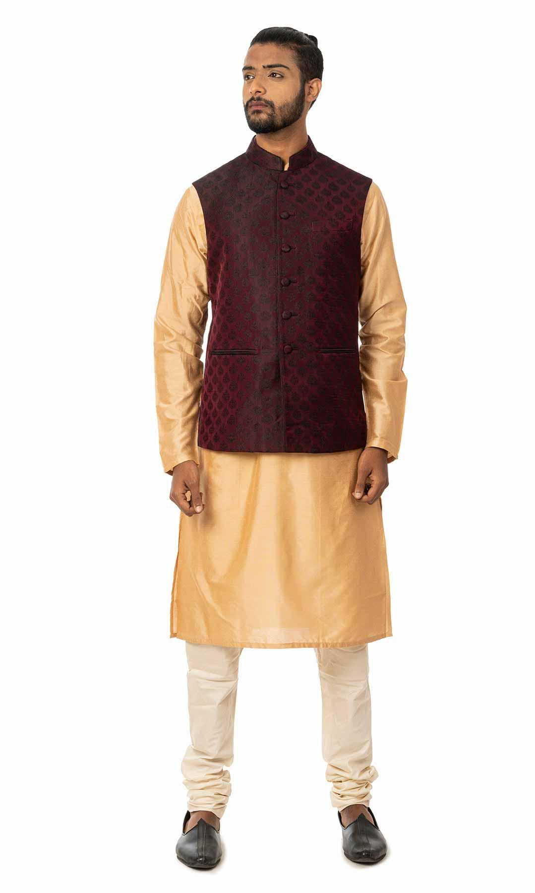 Coral Cotton Silk Kurta Set With Maroon Jacquard Nehru Jacket – Viraaya By Ushnakmals
