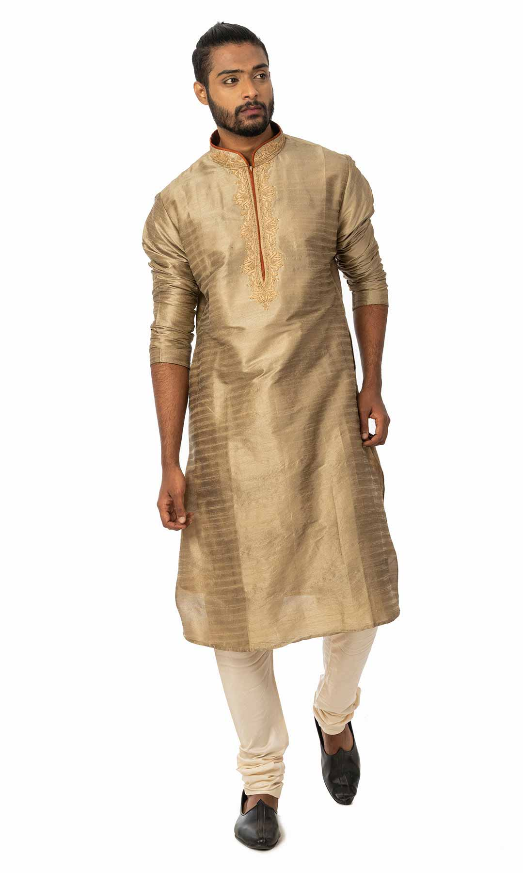 Gilded Beige Cotton Silk Kurta Set  – Viraaya By Ushnakmals