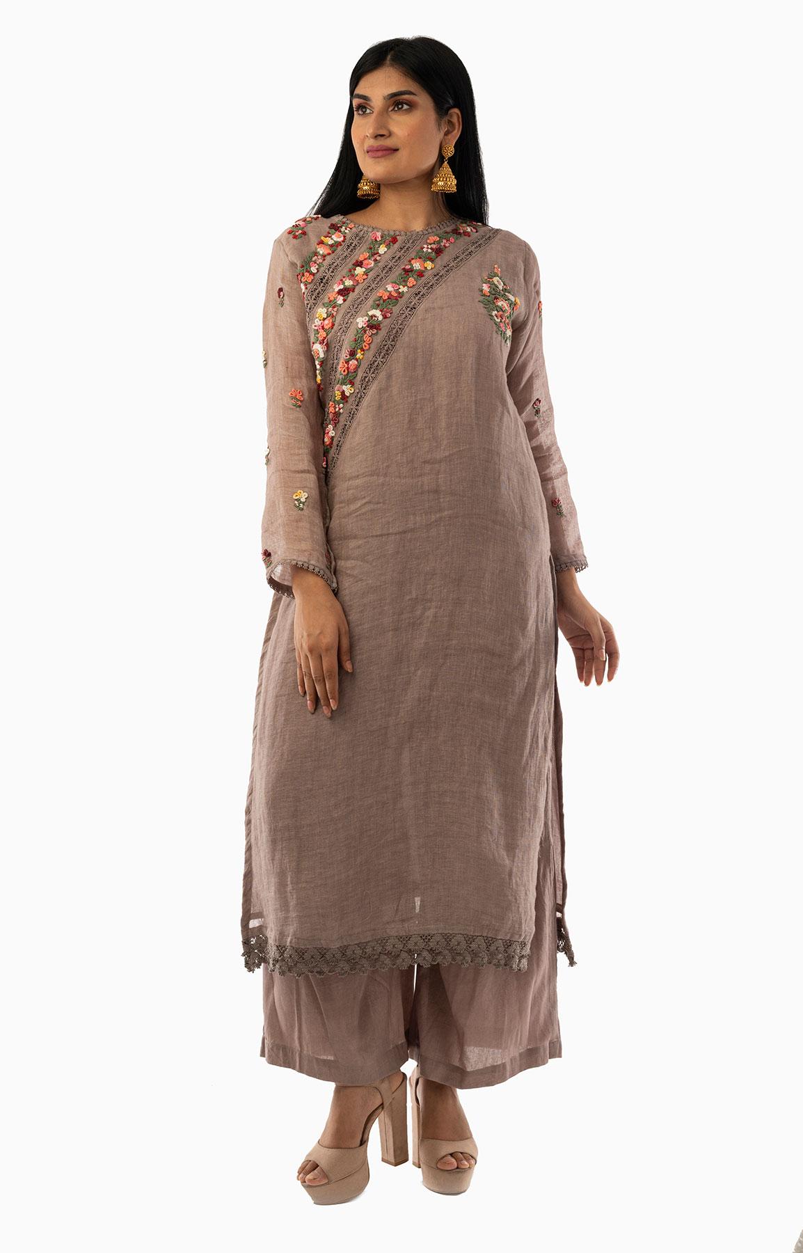 Sand Beige Linen Suit With Handloom Linen Duppatta Adorned With Resham Work – Viraaya By Ushnakmals