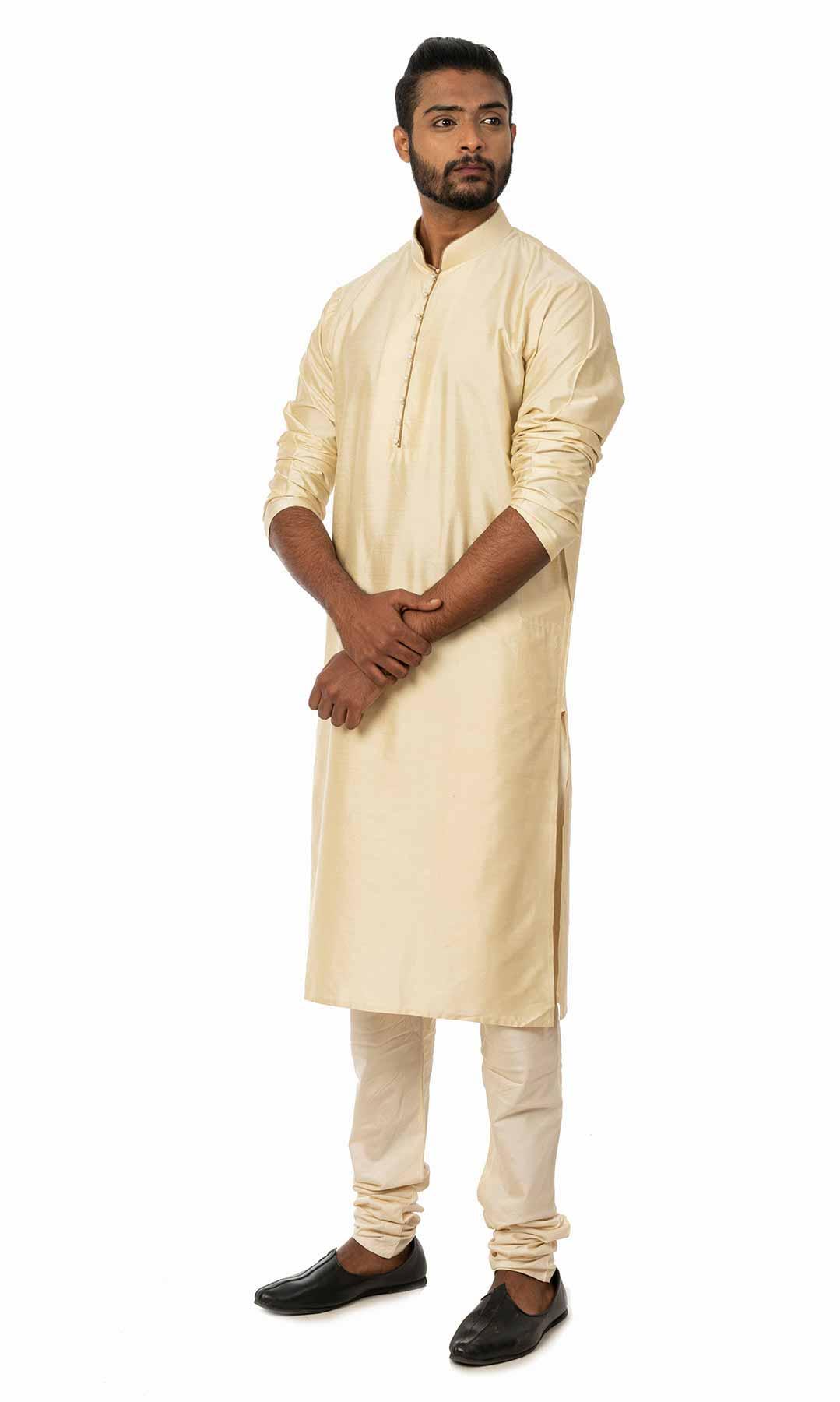 Cream Cotton Silk Kurta Set  – Viraaya By Ushnakmals