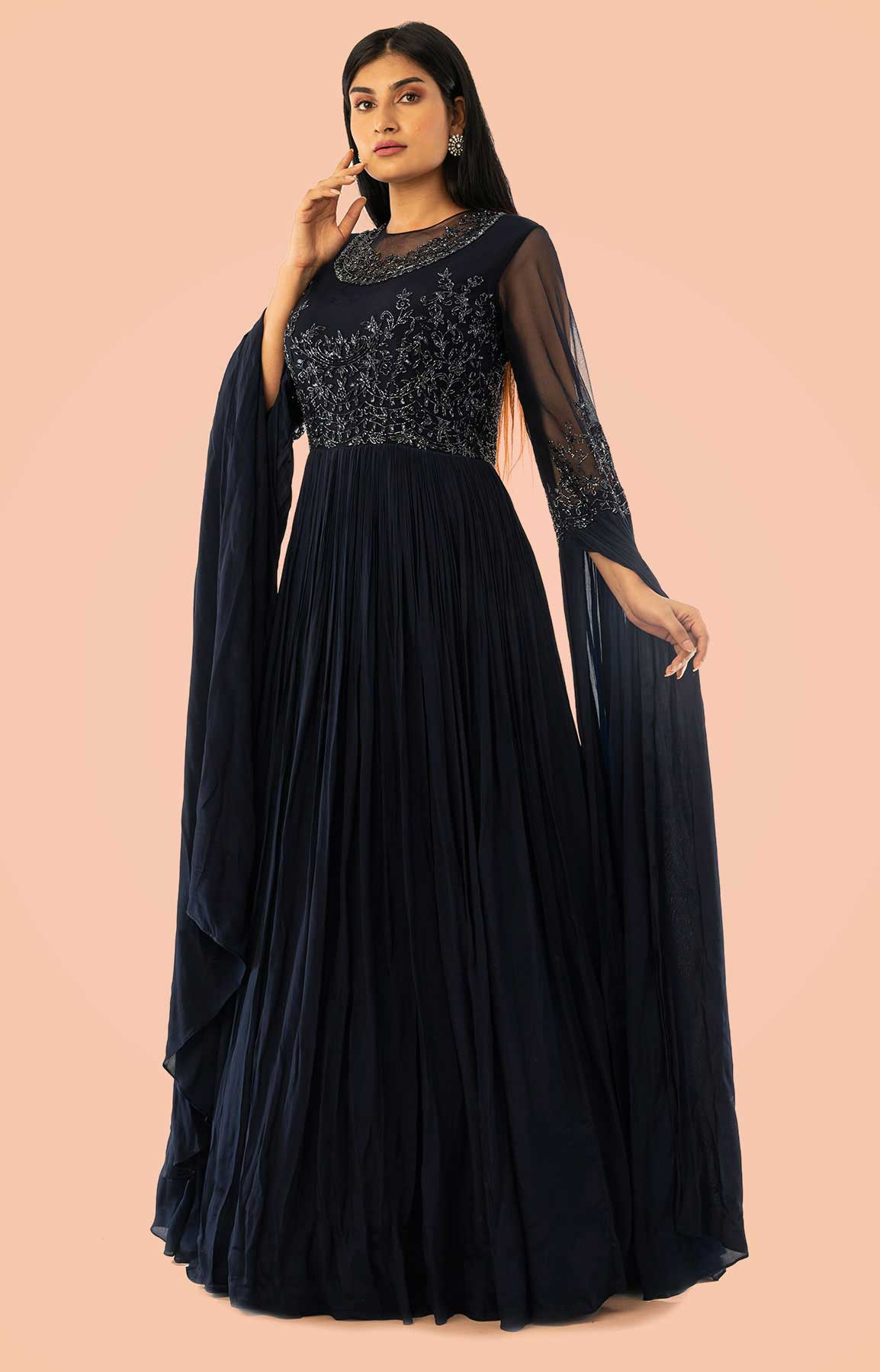 Navy Blue Crepe Gown With Cape Style Sleeve And Embroidered Bodice – Viraaya By Ushnakmals