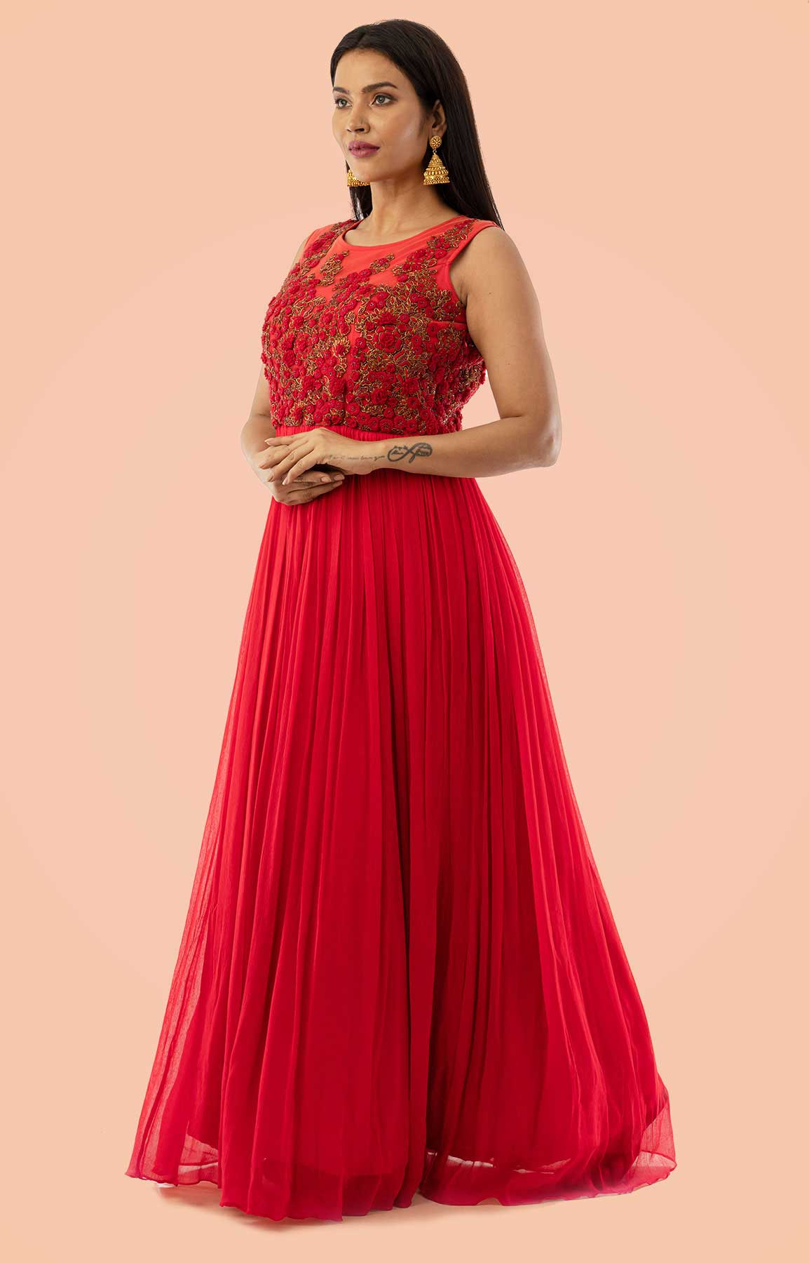 Red Chiffon Anarkali Suit Adorned With Thread And Moti Work – Viraaya By Ushnakmals