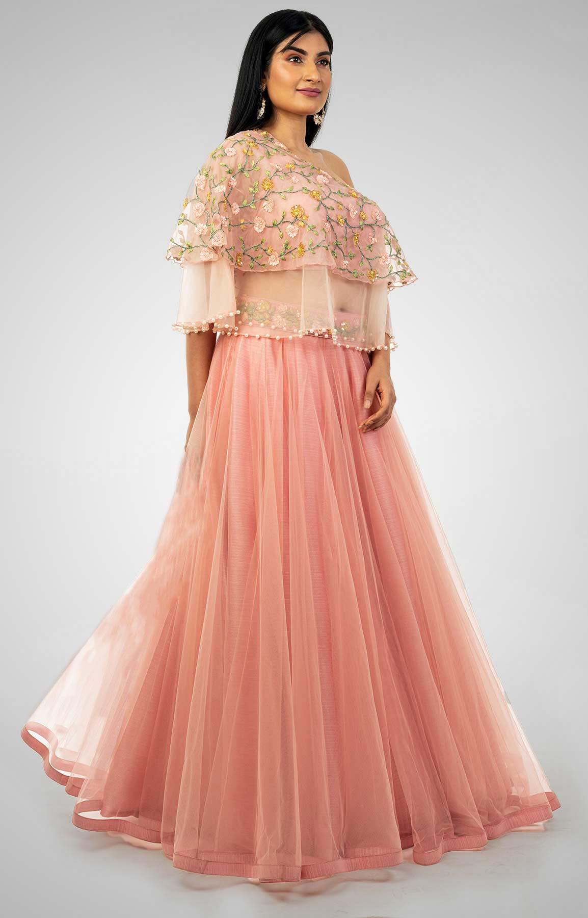 Peach Pink Cape Lehenga With Thread Work – Viraaya By Ushnakmals