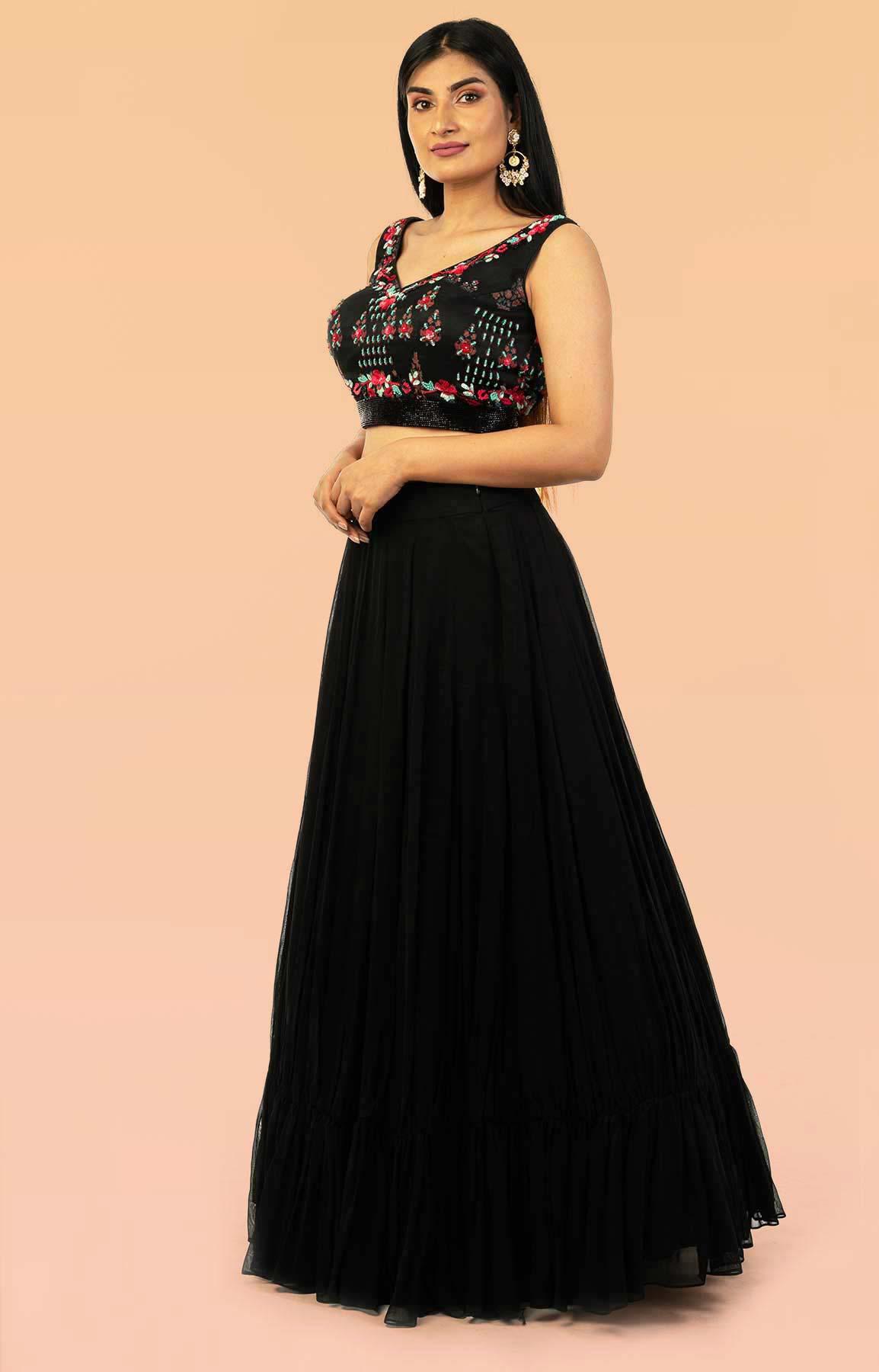 Black Georgette Lehenga With Organza Floral Print And Bead Work Blouse – Viraaya By Ushnakmals