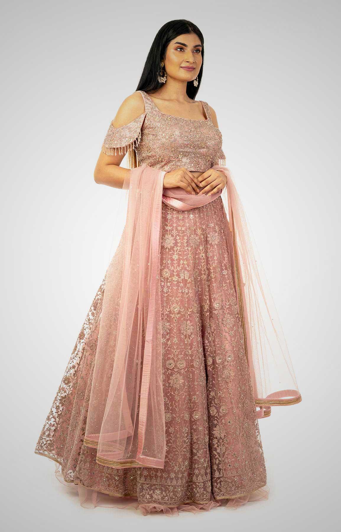 Onion Pink Net Lehenga  With Heavy Embroidery – Viraaya By Ushnakmals