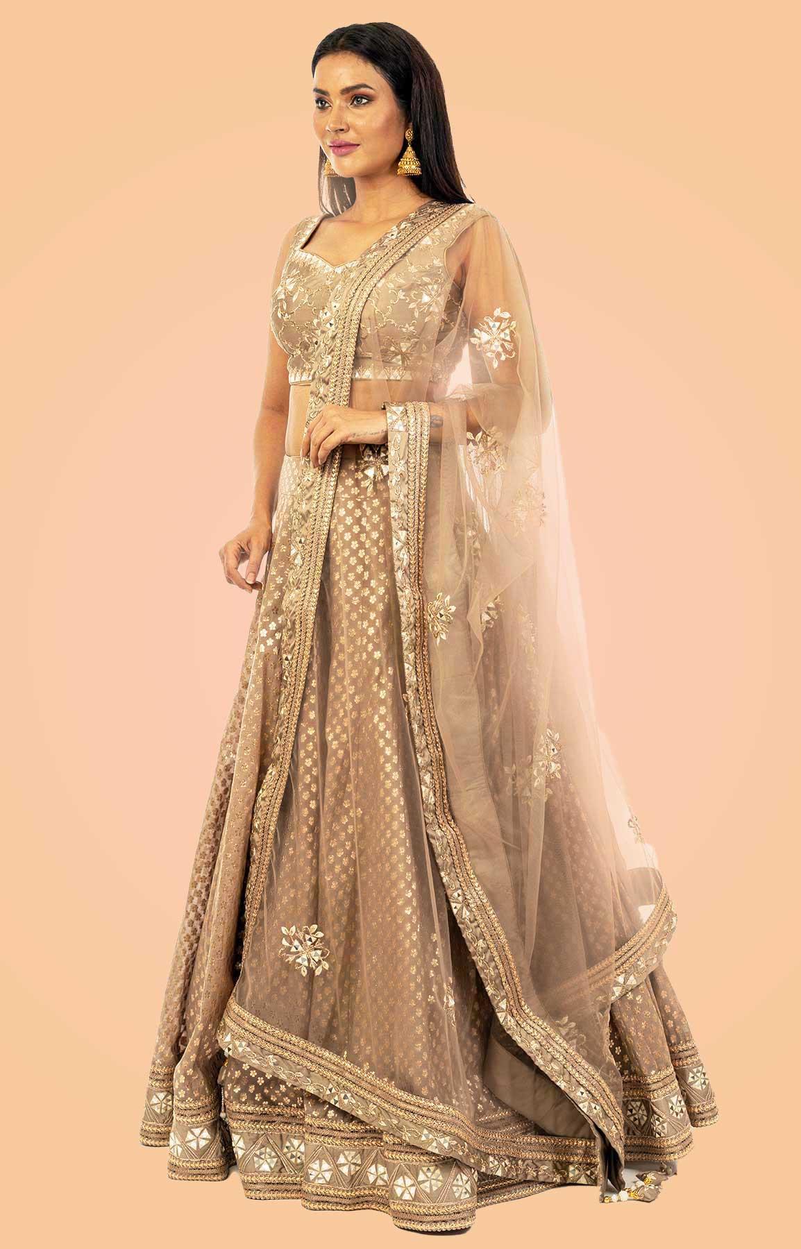 Sepia Banarasi Chanderi Silk Lehenga  – Viraaya By Ushnakmals