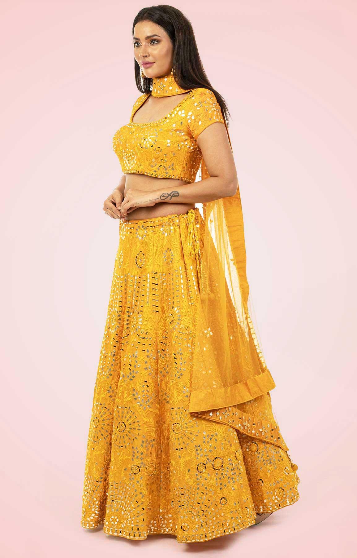 Golden Yellow Lehenga Choli With Leather And Mirror Work – Viraaya By Ushnakmals