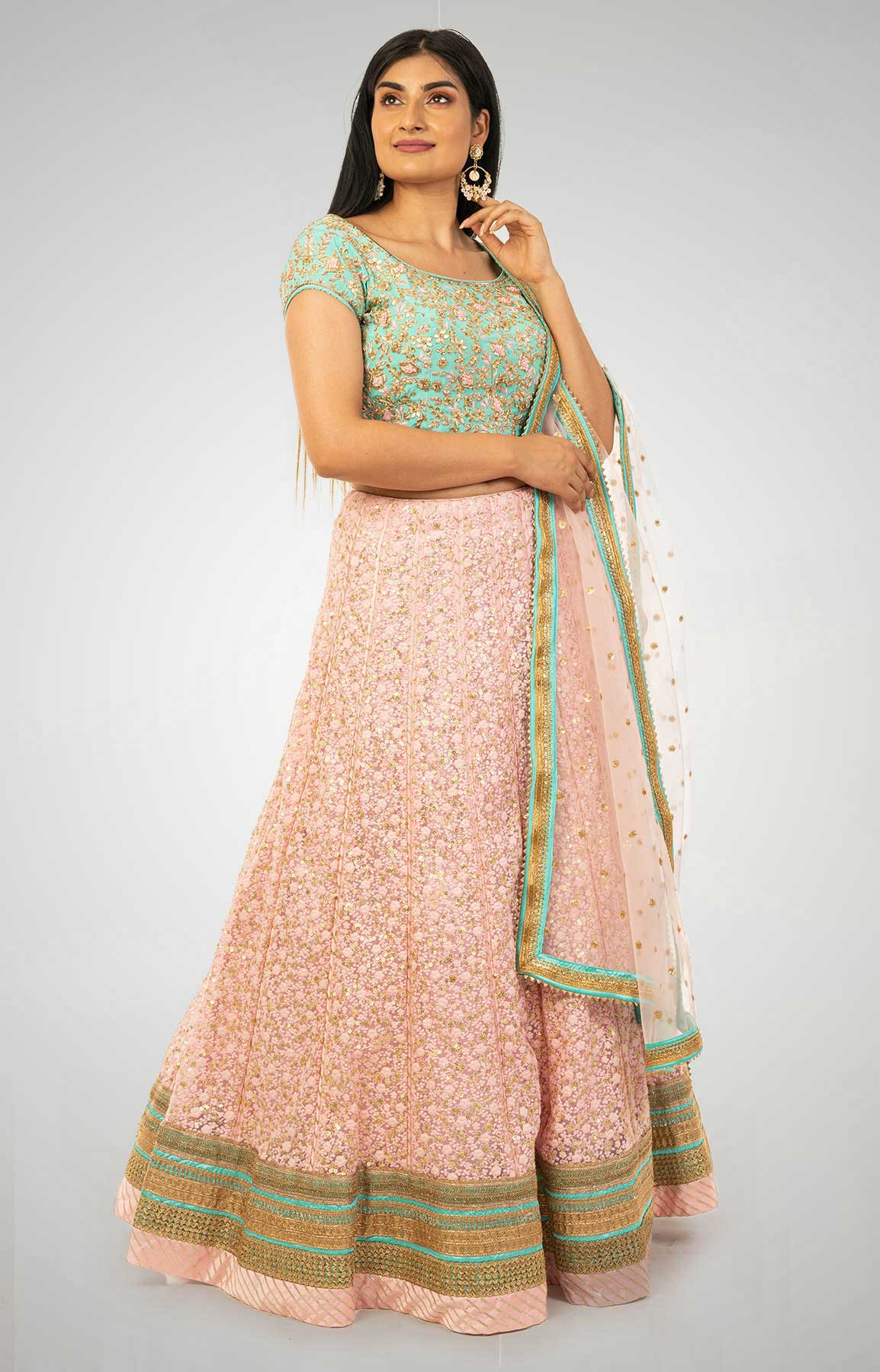 Baby Pink Chikankari Lehenga With Sequin Work Matched With Sea Green Zardozi Work Blouse – Viraaya By Ushnakmals