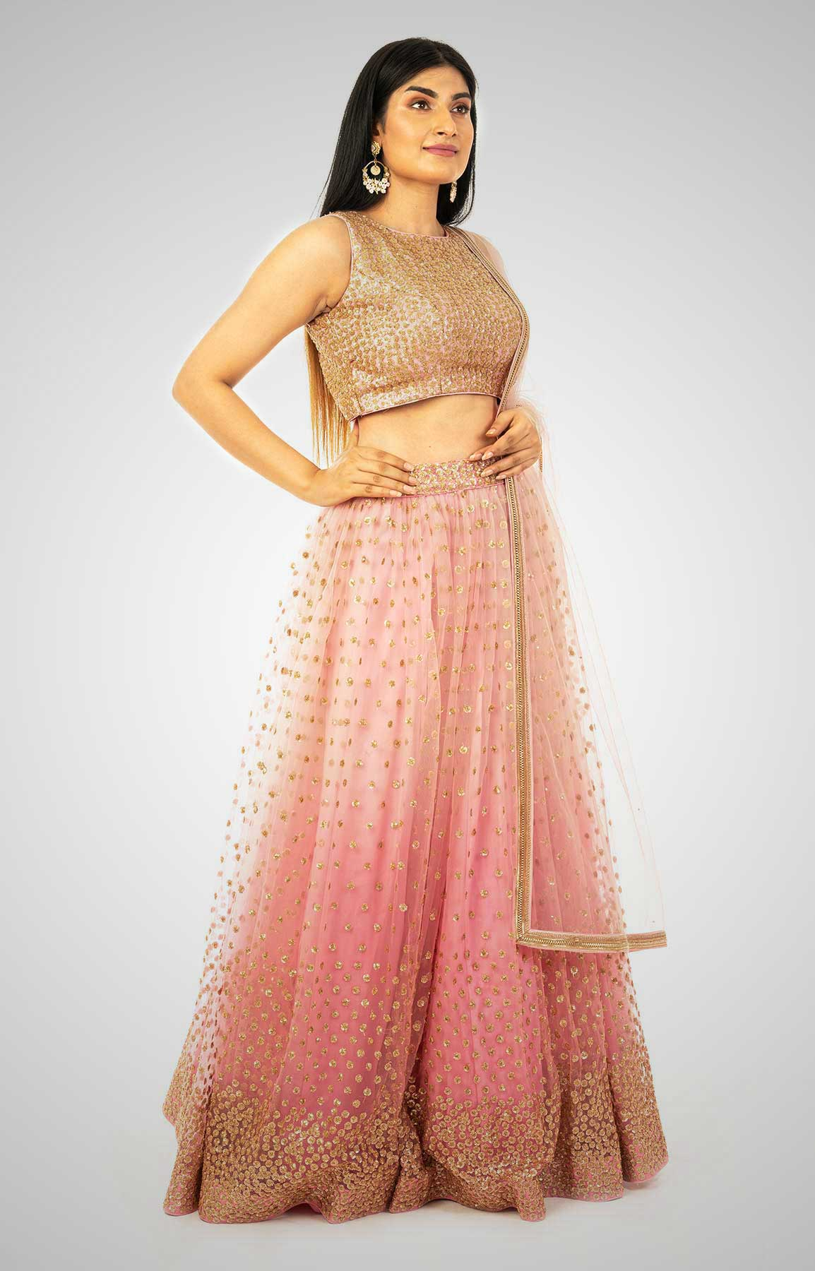 Icing Pink Skirt With Hand Embroidered Blouse And Dual Tone Net Dupatta – Viraaya By Ushnakmals