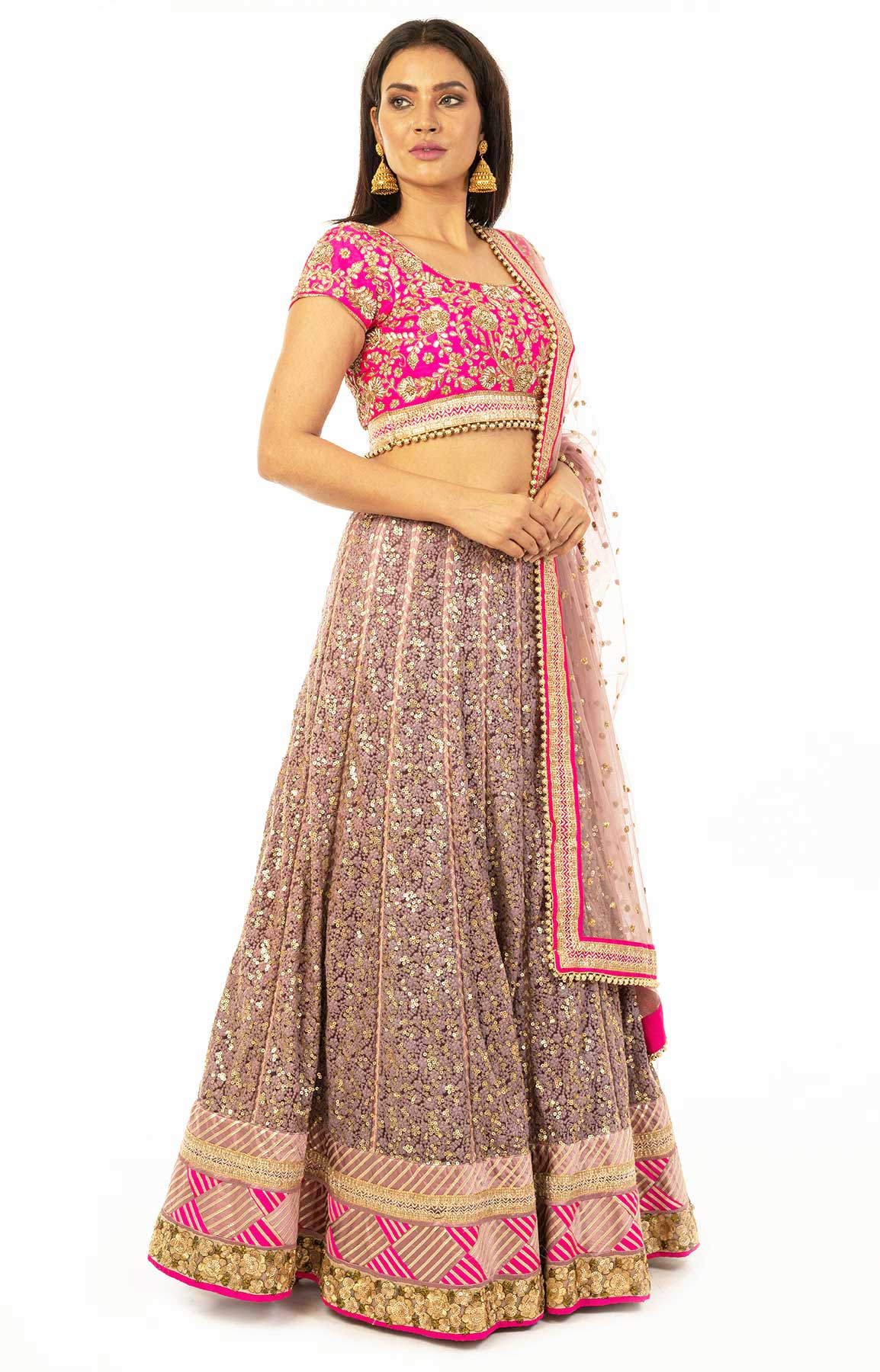 Magenta And Mauve Net Lehenga With Chikankari And Sequin Work – Viraaya By Ushnakmals