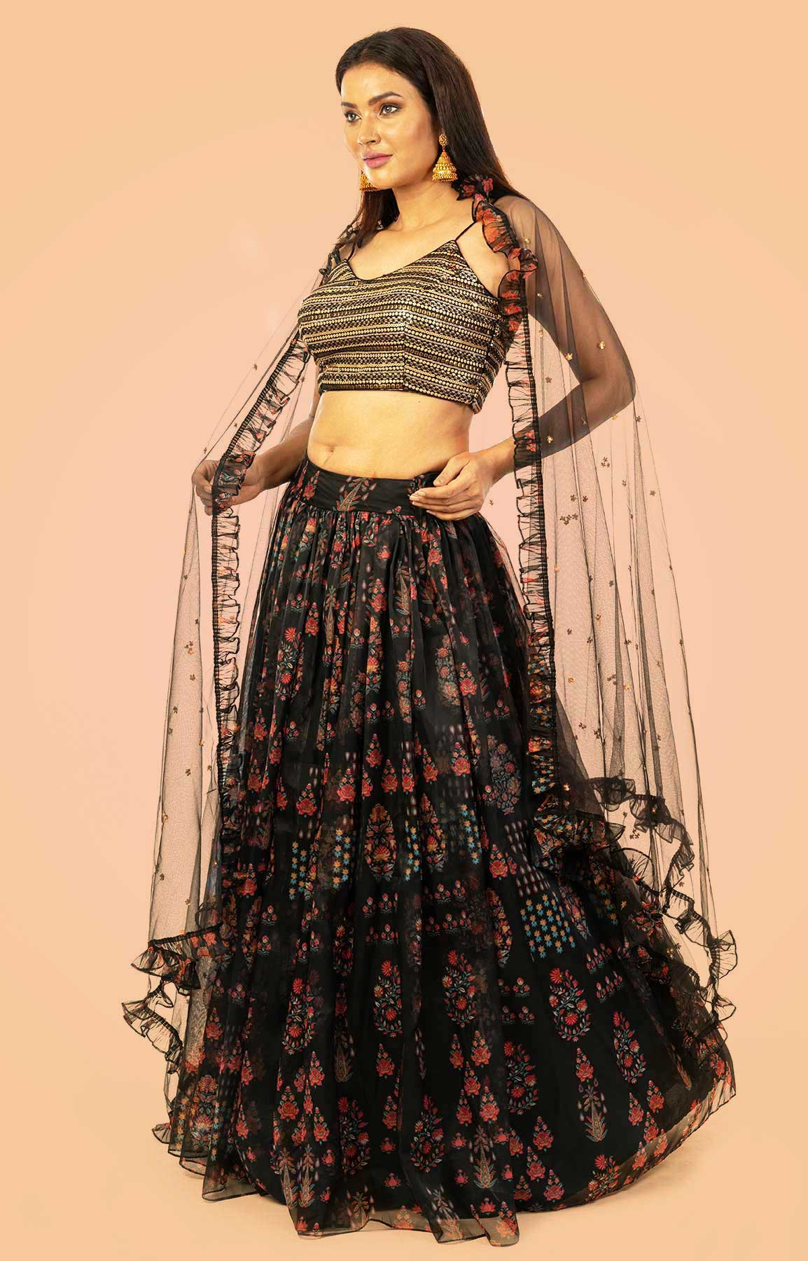 Black Floral Print Skirt With Sequin Top And Frilled Dupatta – Viraaya By Ushnakmals