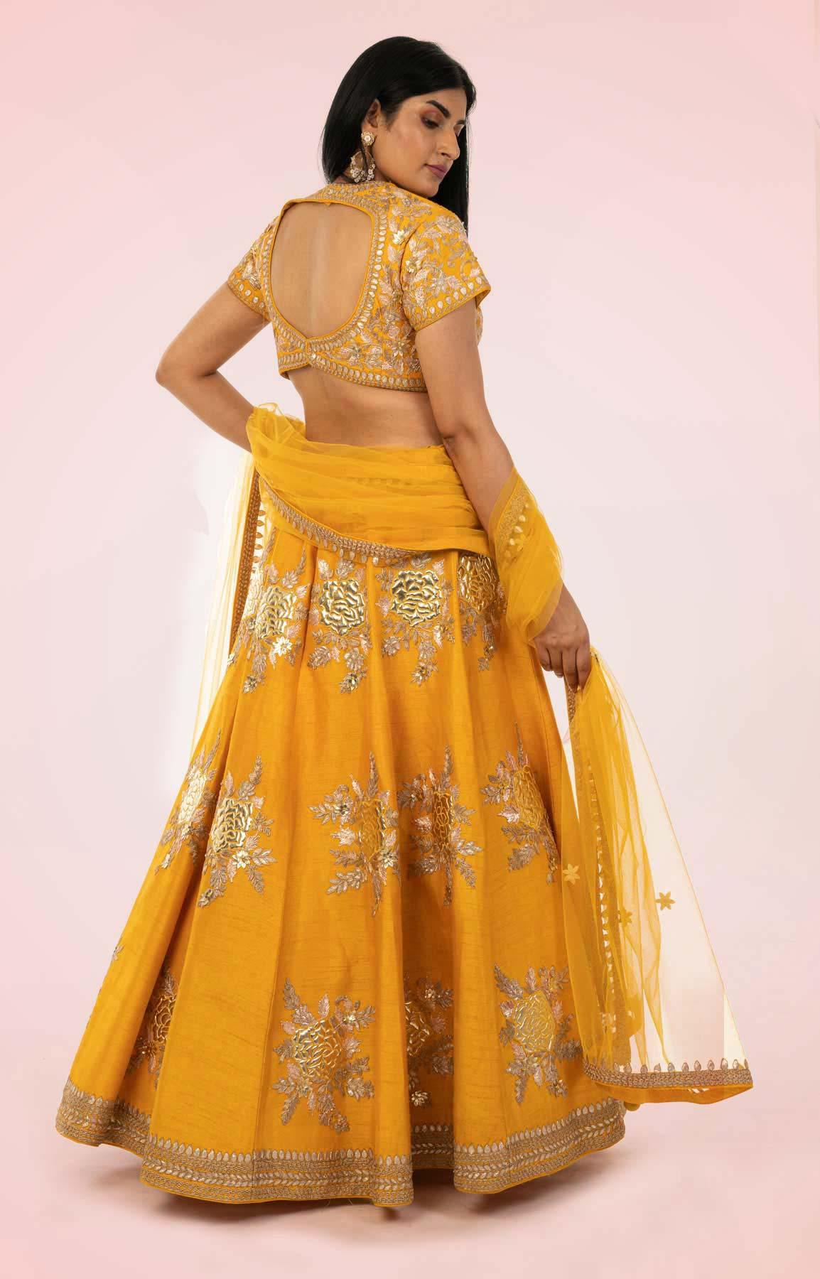 Yellow Raw Silk Lehenga Choli Set With Net Dupatta – Viraaya By Ushnakmals