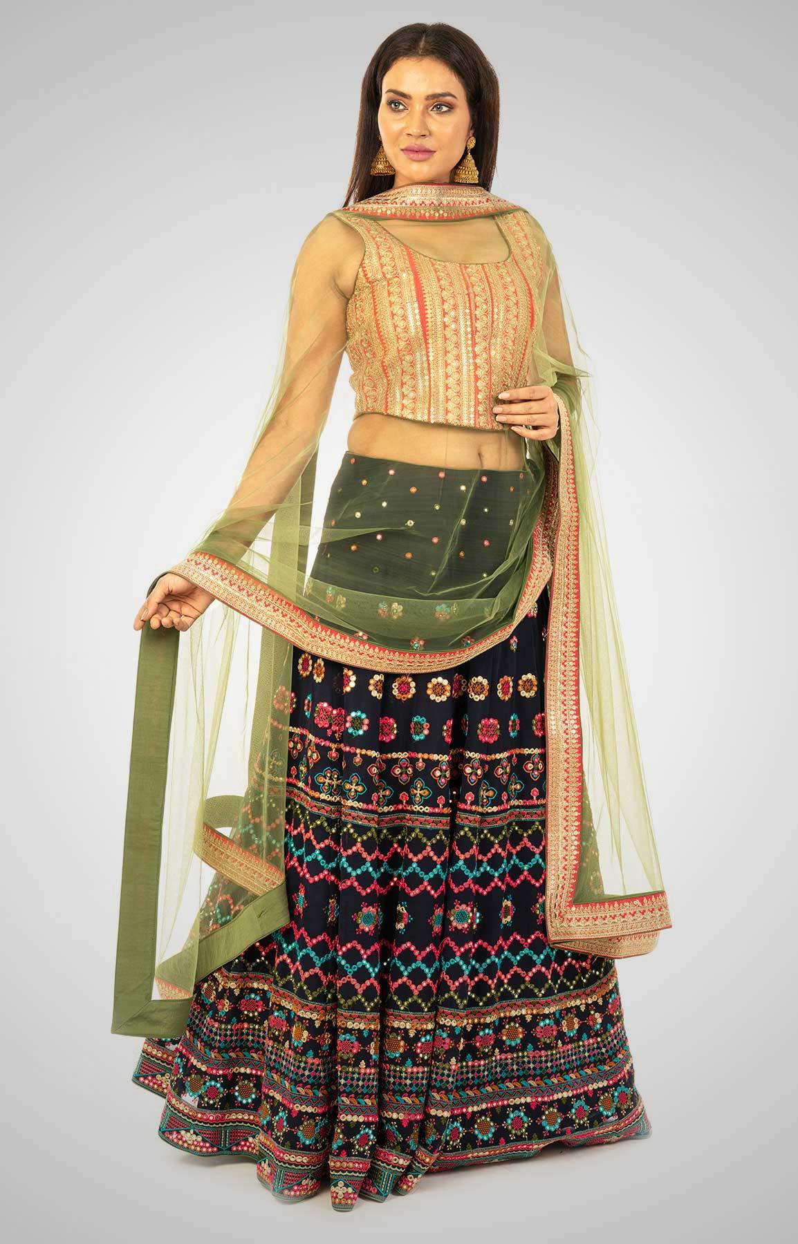 Multi-Coloured Georgette Lehenga With Mirror Work– Viraaya By Ushnakmals