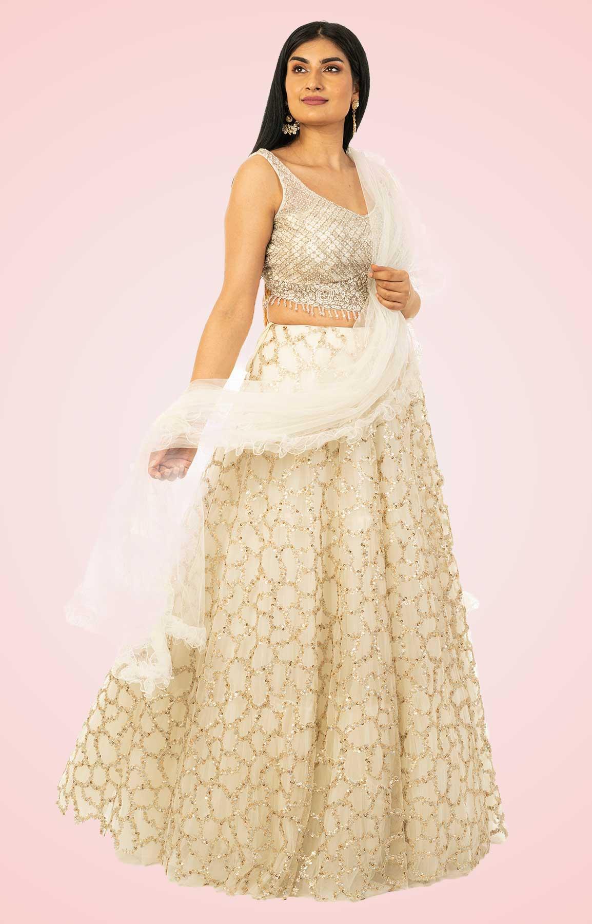 Off White Net Lehenga With Sequin Work – Viraaya By Ushnakmals