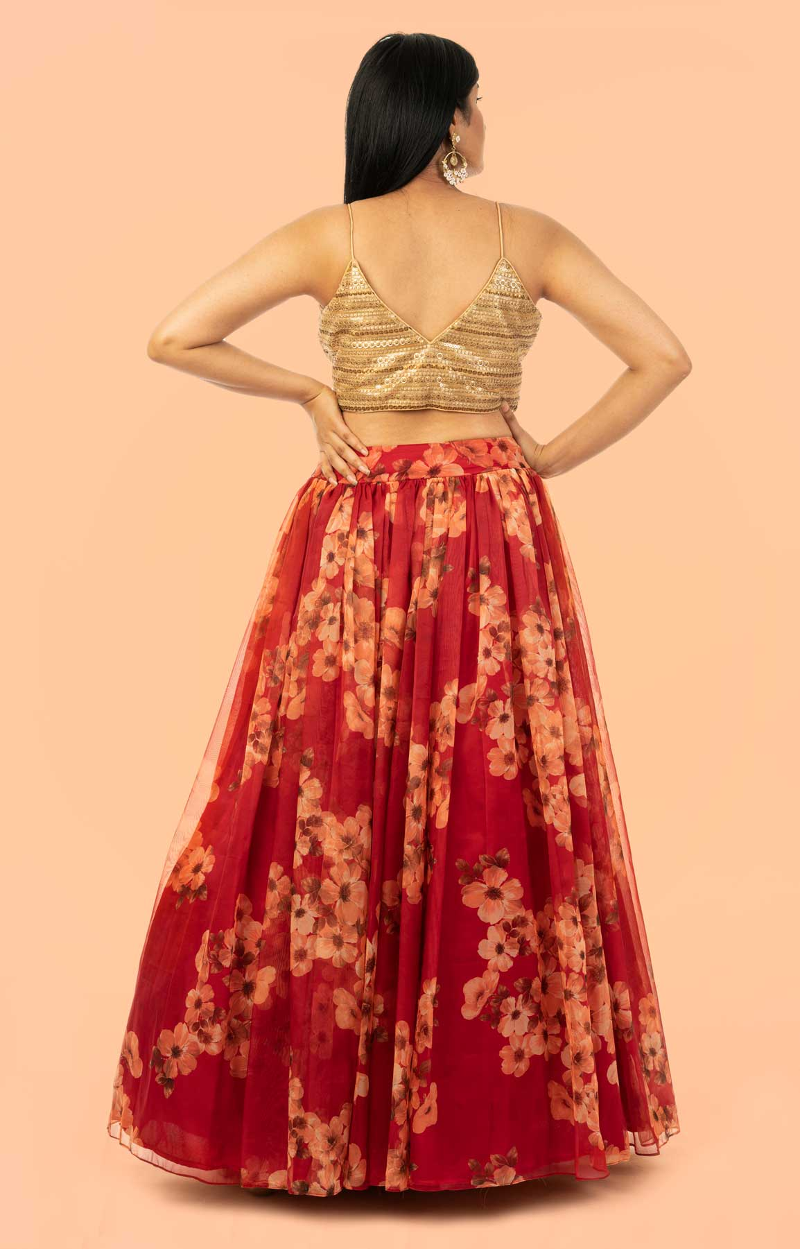 Poppy Red Lehenga In Mustard Floral Motif Print Matched With Golden Embroidered Blouse – Viraaya By Ushnakmals