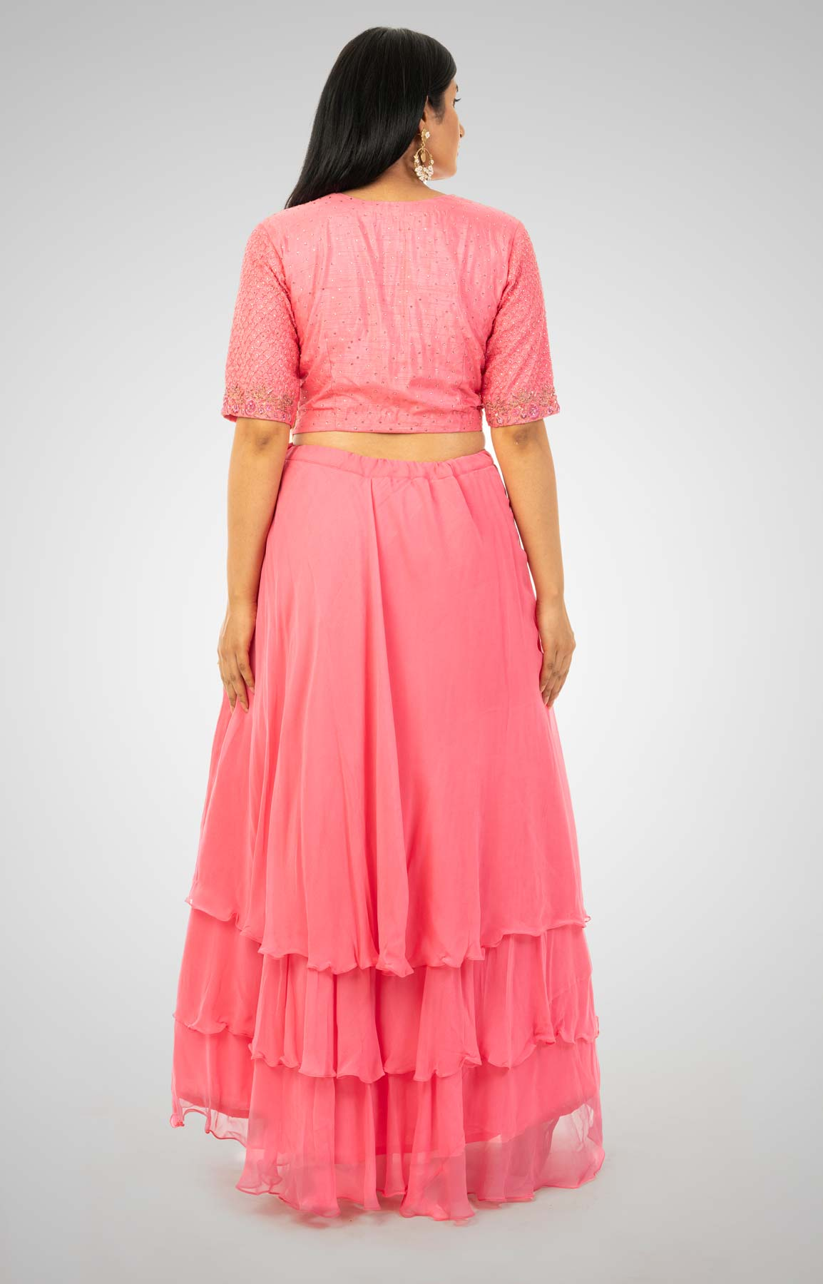 Hot Pink Tiered Georgette Skirt Matched With Cut Dana Embroidered Crop Top – Viraaya By Ushnakmals