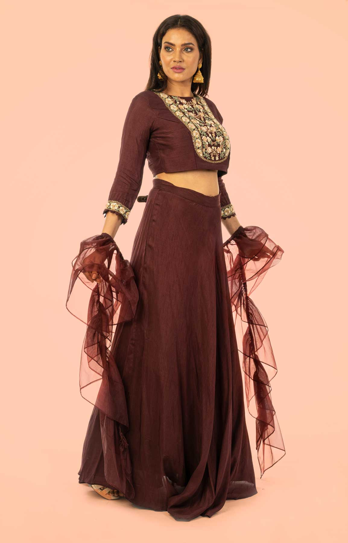 Chocolate Raw Silk Skirt And Top Teamed With Organza Dupatta – Viraaya By Ushnakmals