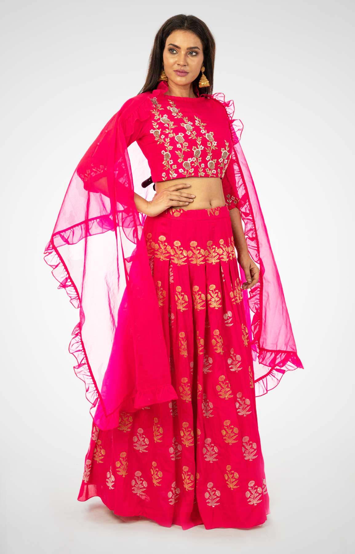 Rani Pink Dupion Silk Crop Top And Skirt With Zardozi Work – Viraaya By Ushnakmals