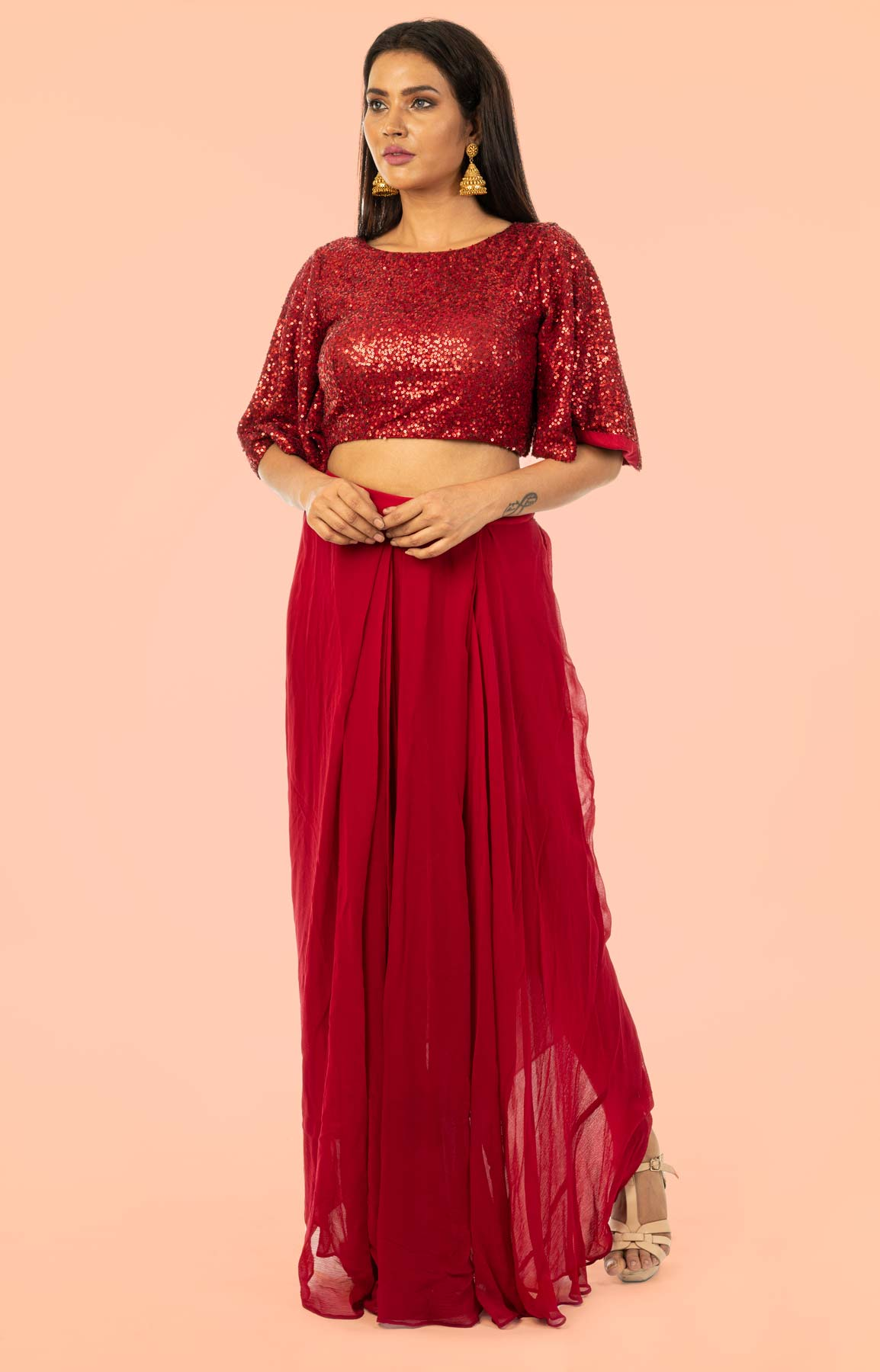 Maroon Crop Top And Skirt Embraced With Bell Shaped Sleeves – Viraaya By Ushnakmals