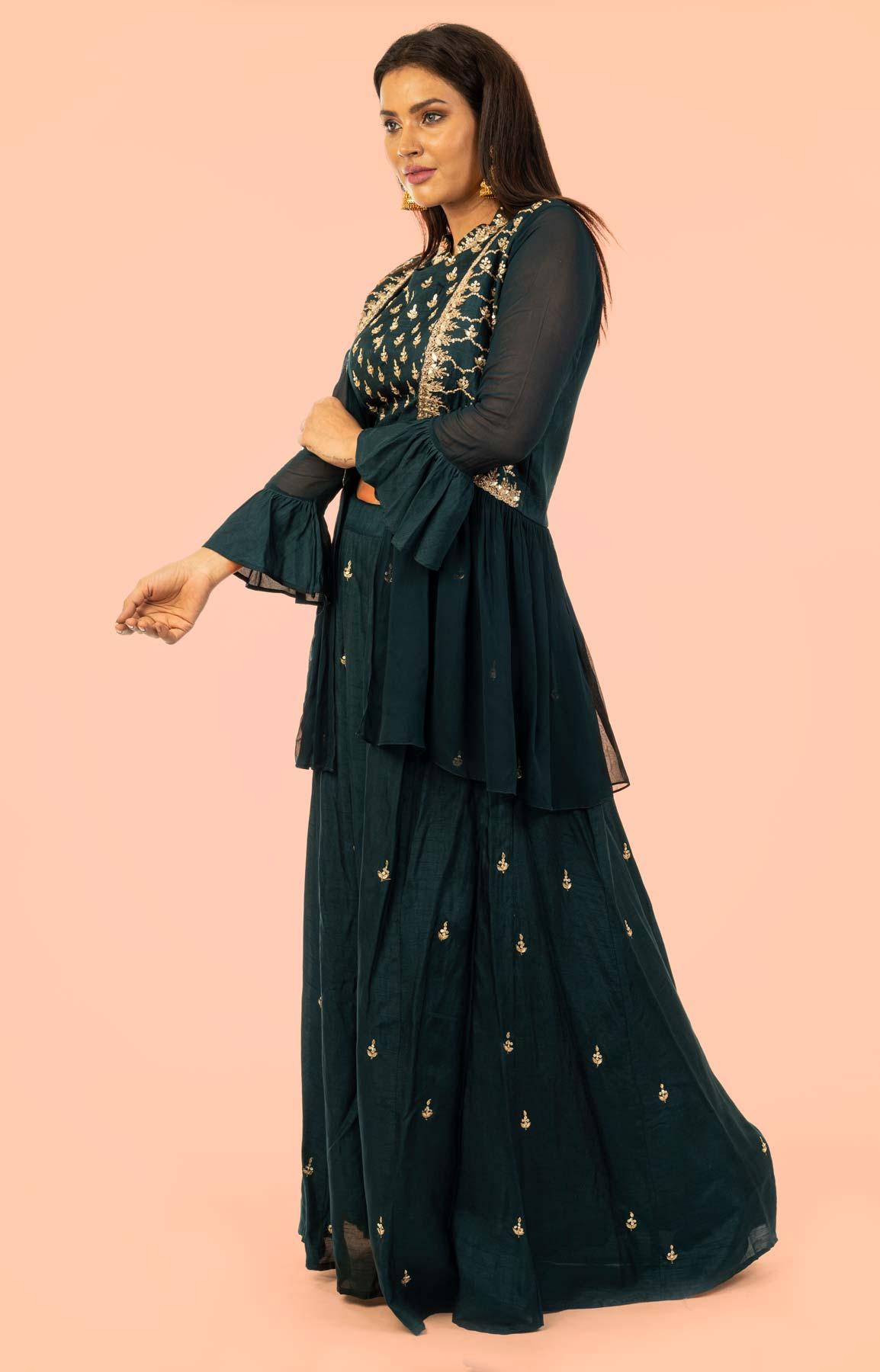 Navy Blue Raw Silk Lehenga With Zari Work – Viraaya By Ushnakmals