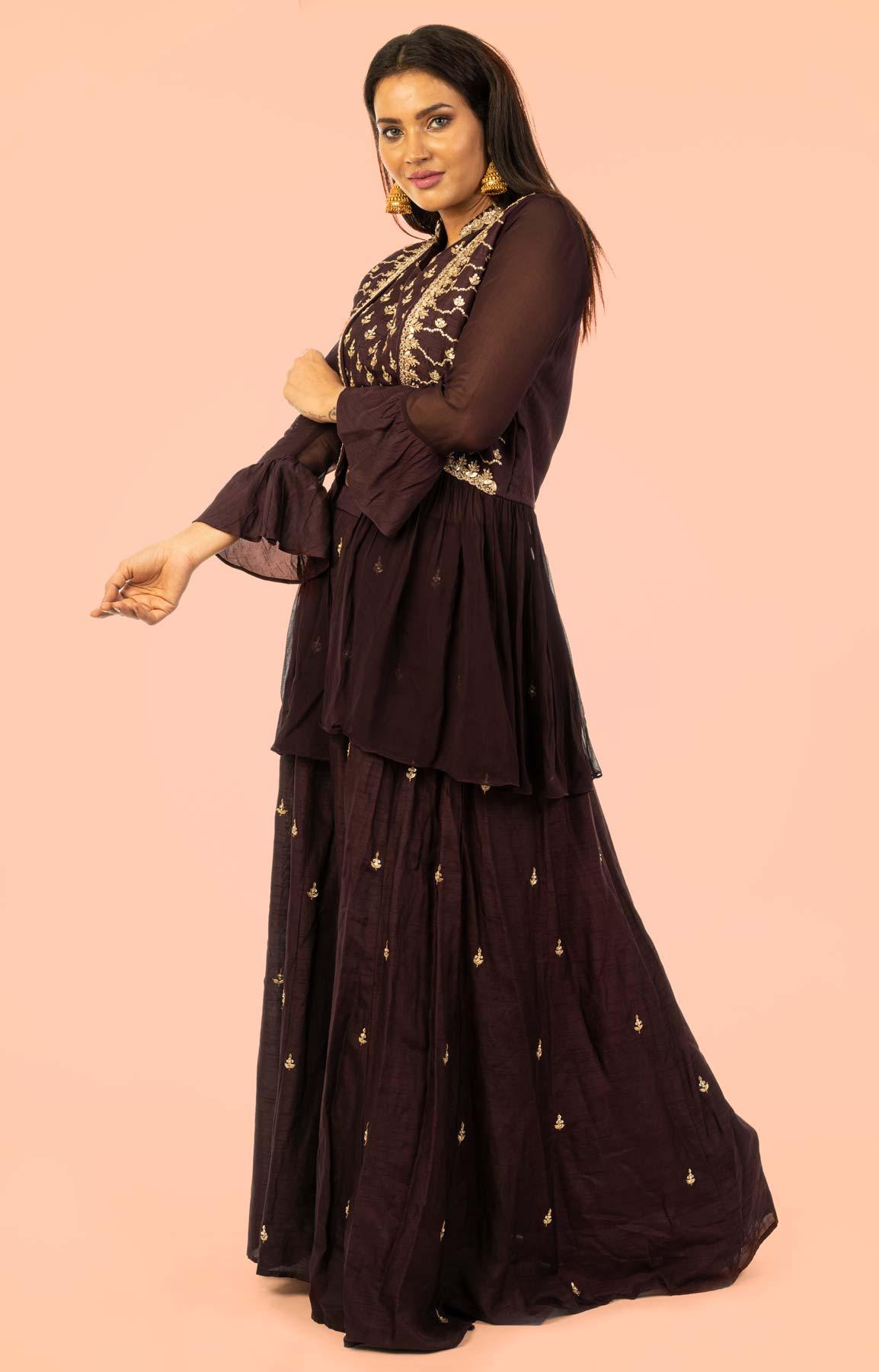Brown Raw Silk Lehenga With Zari Work – Viraaya By Ushnakmals