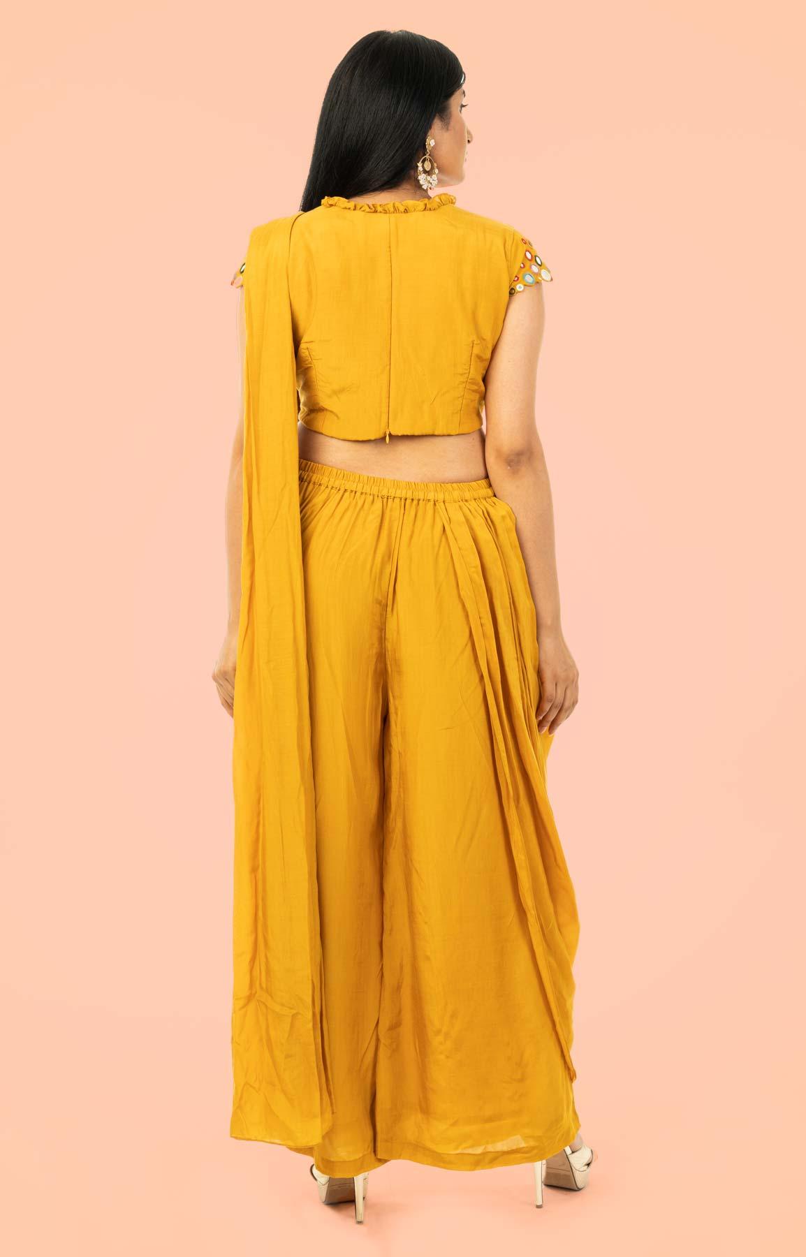 Mustard Opara Silk Drape Saree With Mirror Work – Viraaya By Ushnakmals