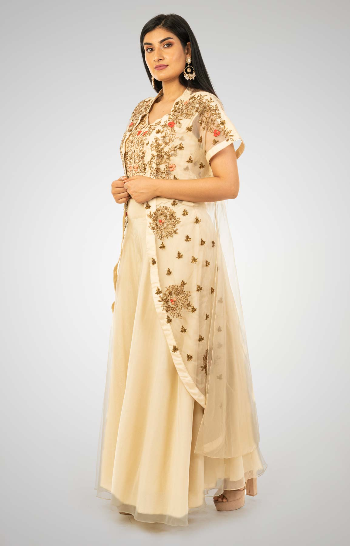 Double Cream Sharara Suit Teamed With Hand Embroidered Jacket And Crop Top – Viraaya By Ushnakmals