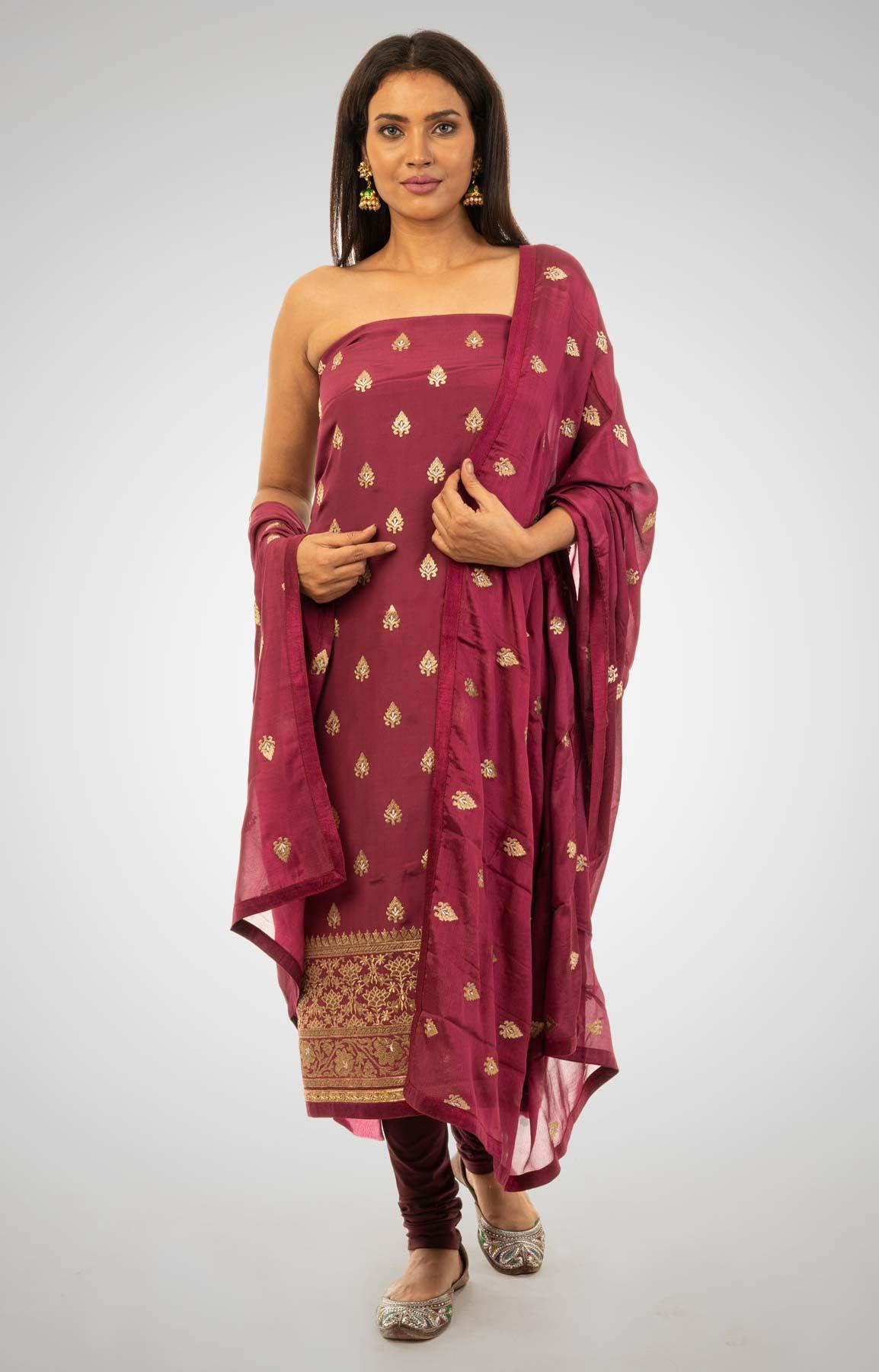 Wine Crepe Suit Fabric With Zari Work – Viraaya By Ushnakmals