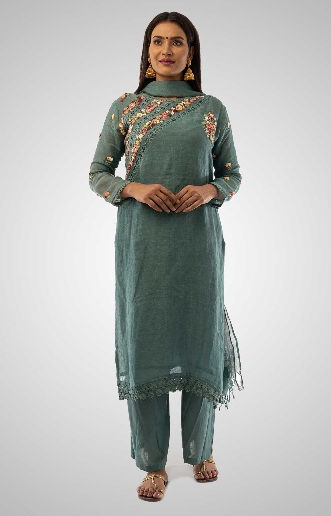 Greyish Blue Linen Suit With Handloom Linen Duppatta Adorned With Resham Work – Viraaya By Ushnakmals