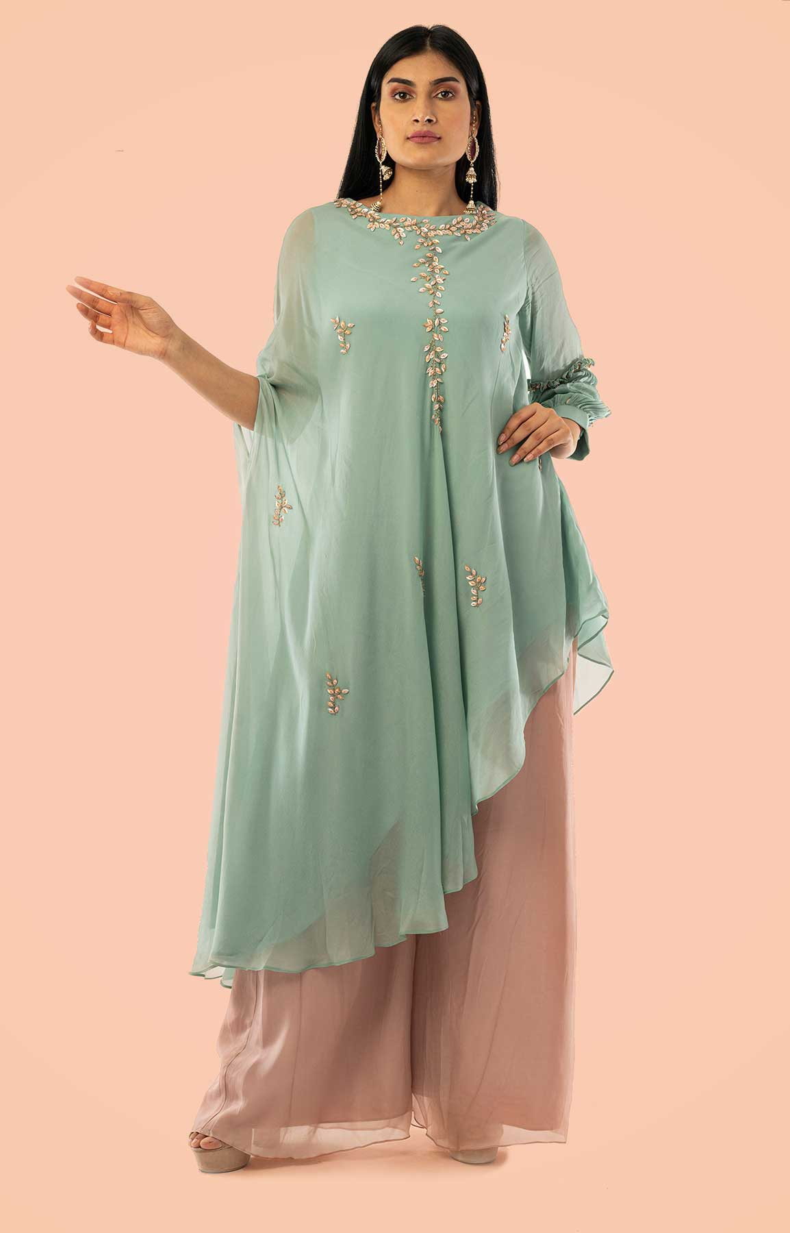 Seige Green Asymmetrical Crepe Sut With Dusty Pink Palazzo – Viraaya By Ushnakmals
