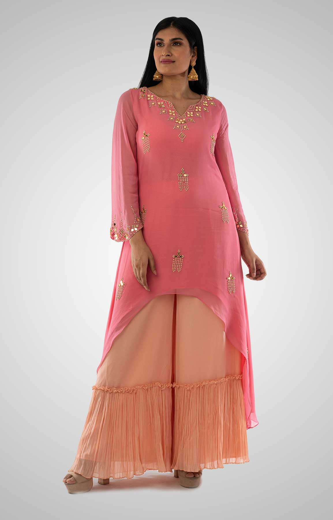 Bubble Gum Pink With Peach Sharara Suit In Georgette – Viraaya By Ushnakmals