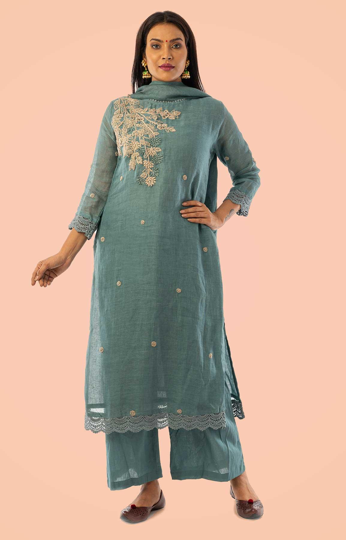 Blueish Grey Linen Suit With Handloom Linen Dupatta – Viraaya By Ushnakmals