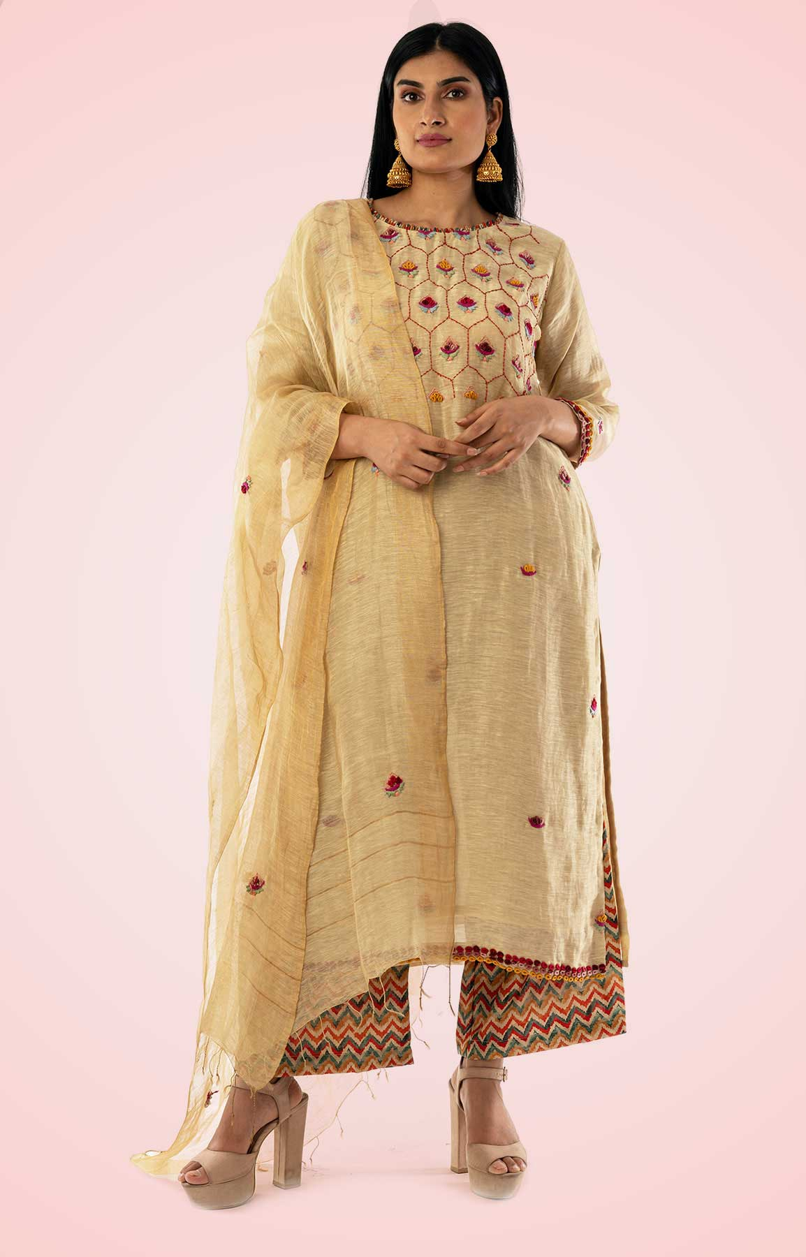 Beige Linen Palazzo Suit Teamed With Printed Palazzo Adorned With Resham Work – Viraaya By Ushnakmals