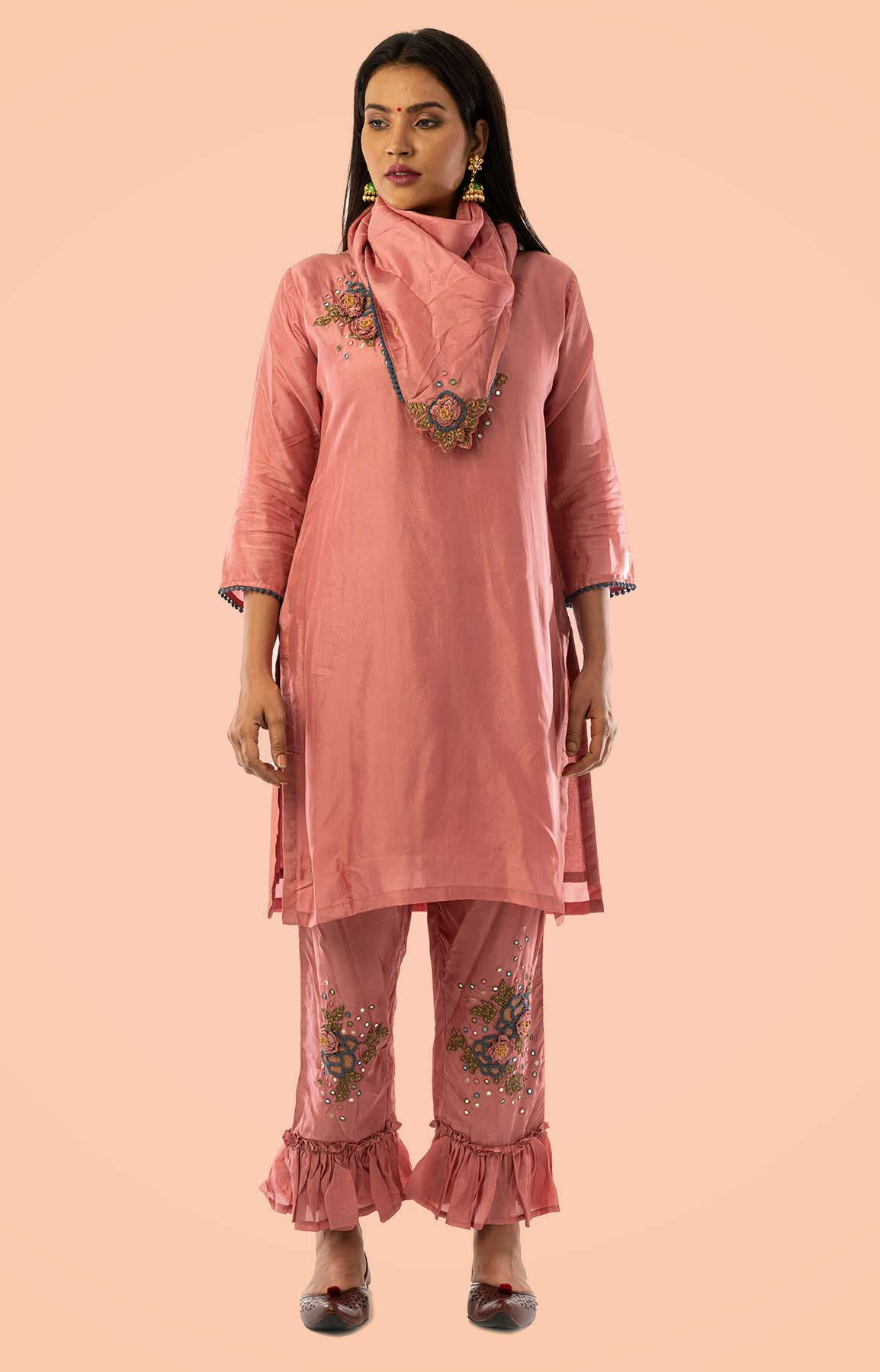 Coral Pink Uppada Silk Suit With Resham Work Paired With Scarf – Viraaya By Ushnakmals