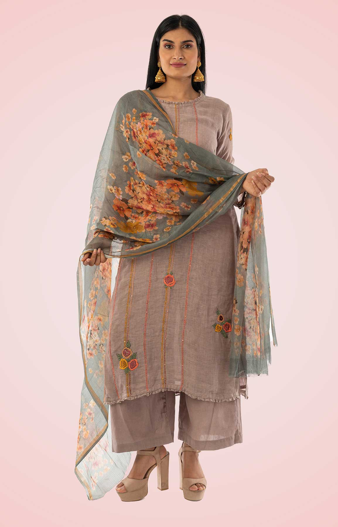 Grey Linen Suit With Floral Printed Dupatta – Viraaya By Ushnakmals