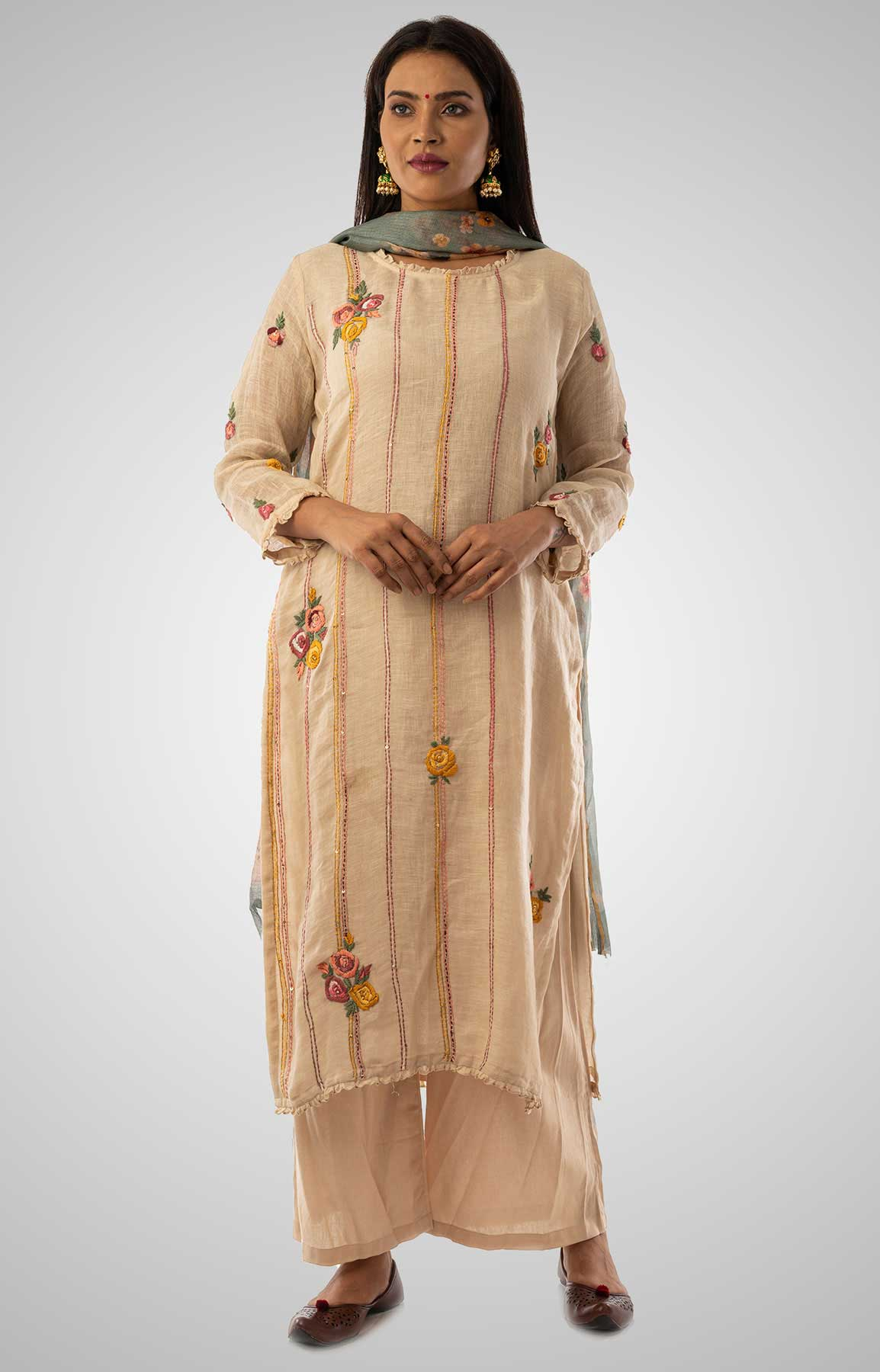 Beige Linen Suit With Floral Printed Dupatta – Viraaya By Ushnakmals