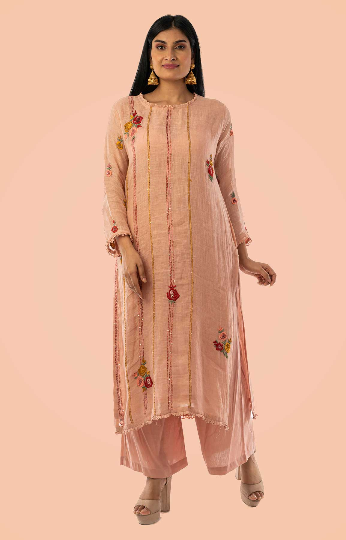 Peach Linen Suit With Floral Printed Dupatta – Viraaya By Ushnakmals