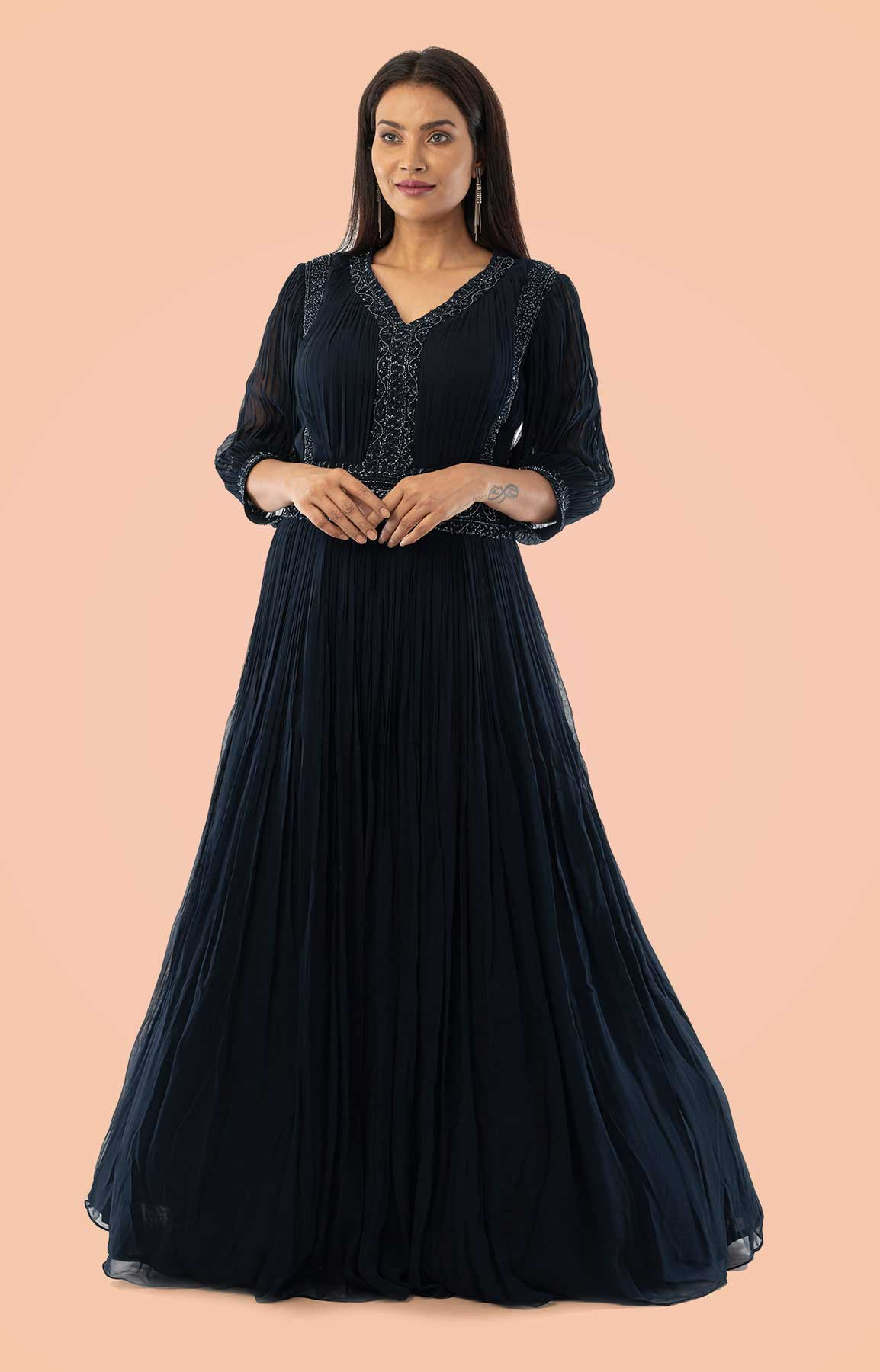 Navy Blue Dress On Georgette With Roshing – Viraaya By Ushnakmals