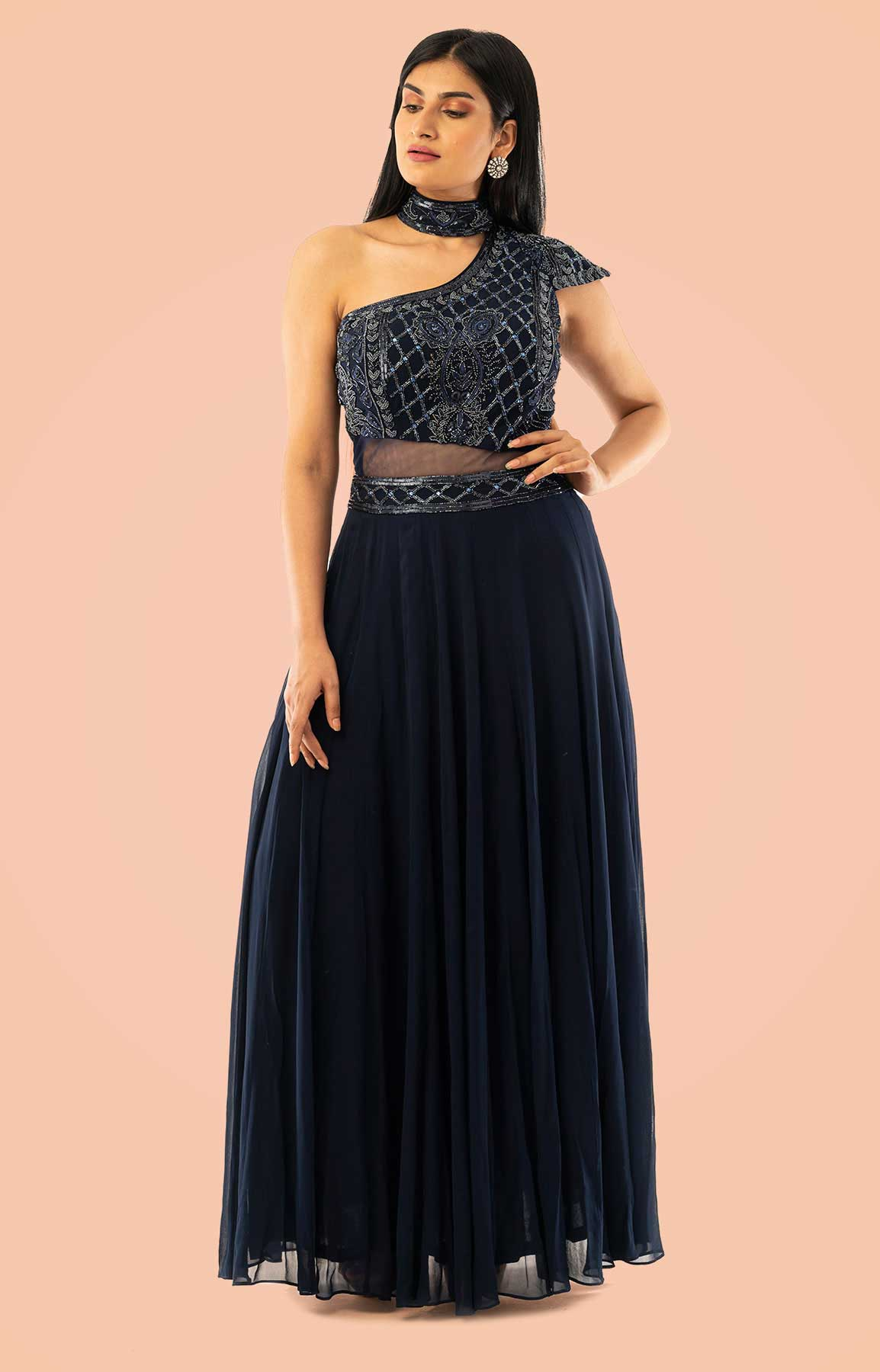 Navy Blue Anarkali Suit In Georgette Single Shoulder – Viraaya By Ushnakmals