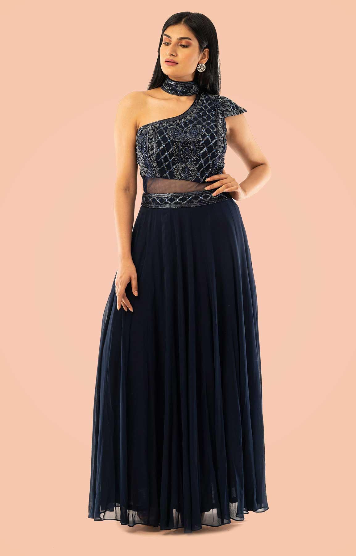 Navy Blue Anarkali Suit In Georgette Single Shoulder – Viraaya By Ushnakmals