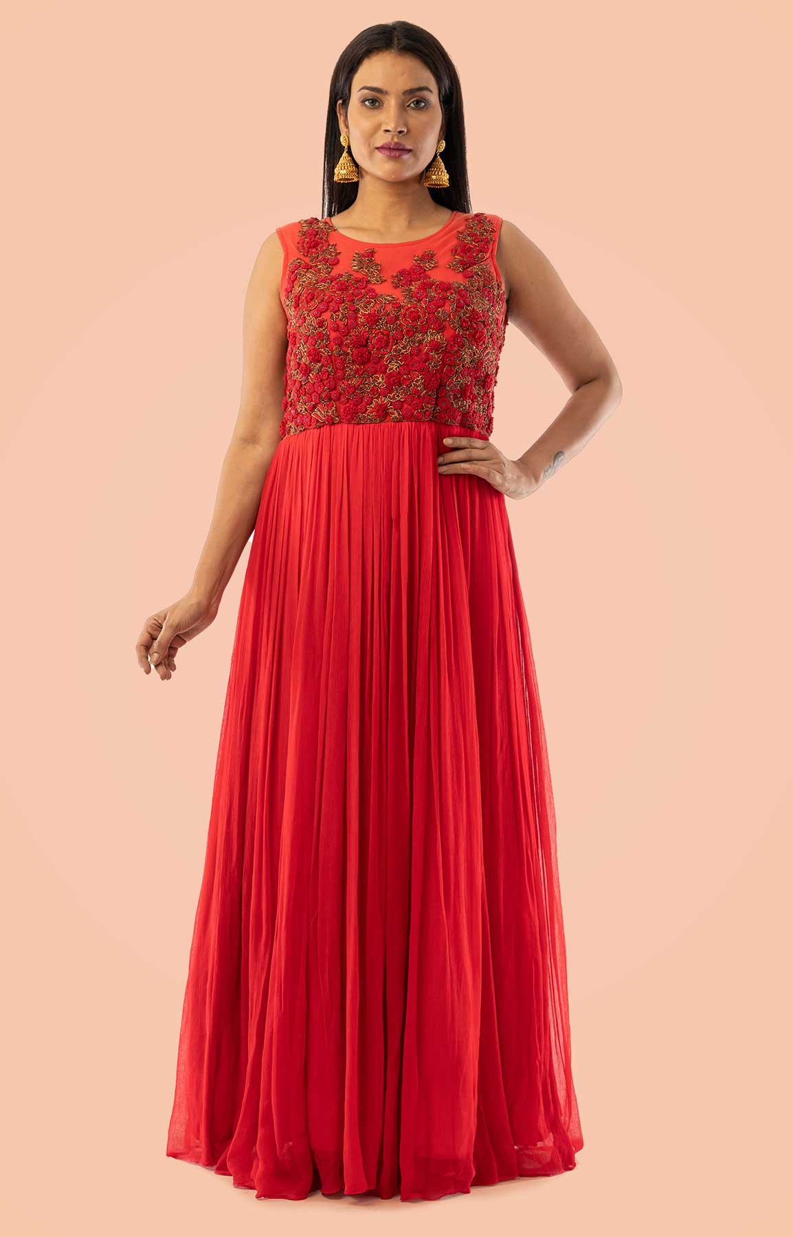 Red Chiffon Anarkali Suit Adorned With Thread And Moti Work – Viraaya By Ushnakmals