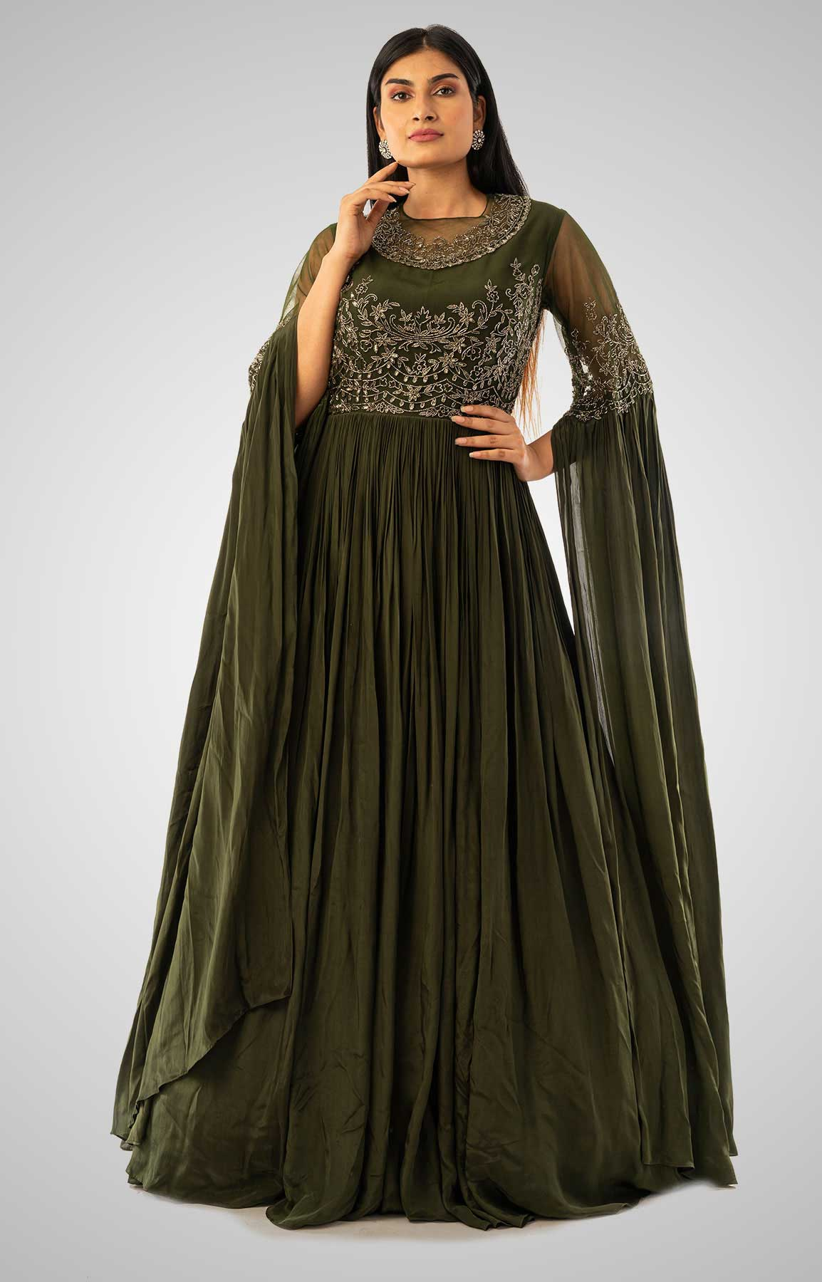Olive Green Crepe Gown With Cape Style Sleeve And Embroidered Bodice – Viraaya By Ushnakmals