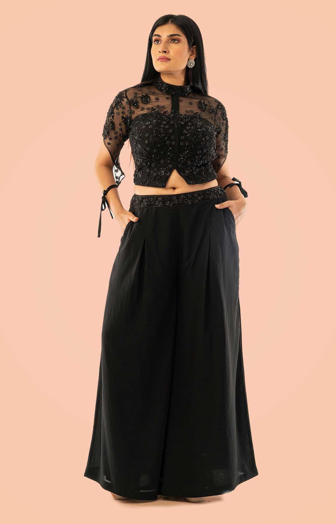 Black Georgette Crop Top And Palazzo Suit With Black Beads Work – Viraaya By Ushnakmals